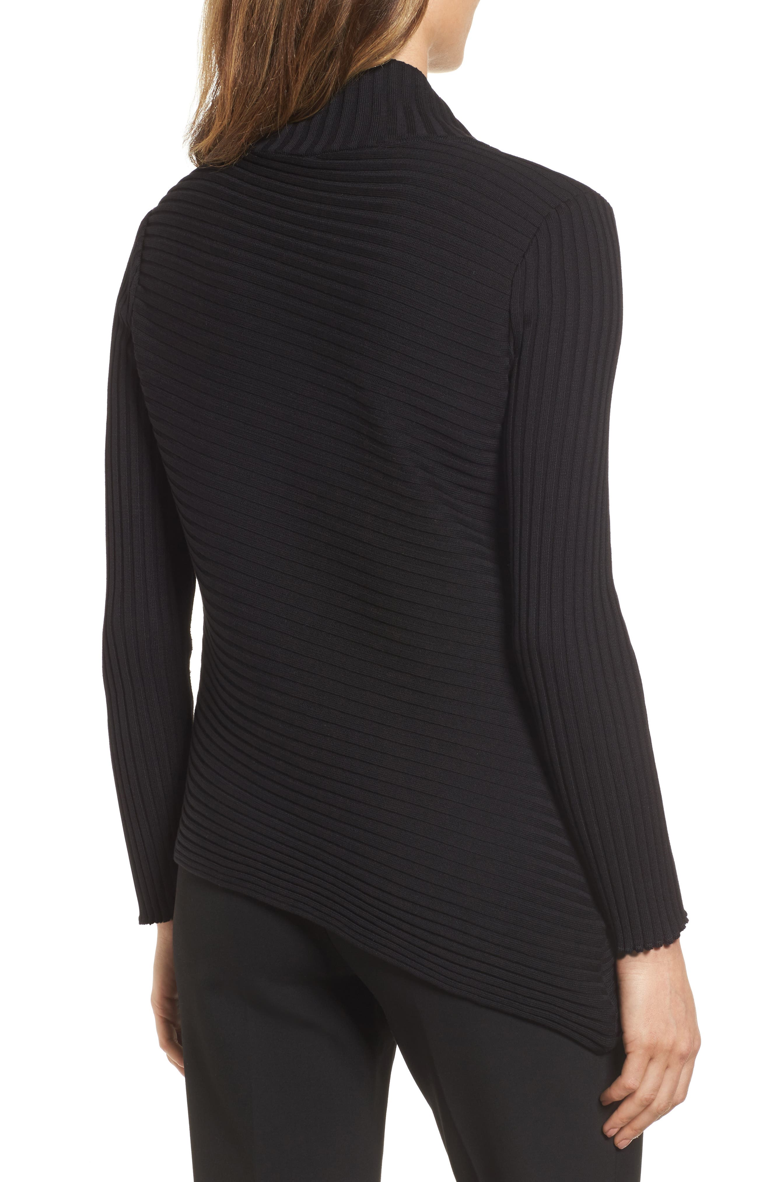 Ribbed Asymmetrical Sweater,                             Alternate thumbnail 2, color,                             001