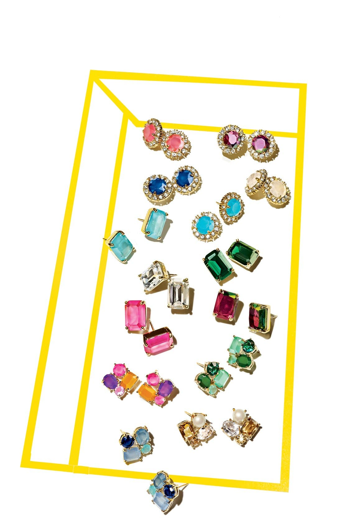 stone stud earrings,                             Alternate thumbnail 2, color,                             002