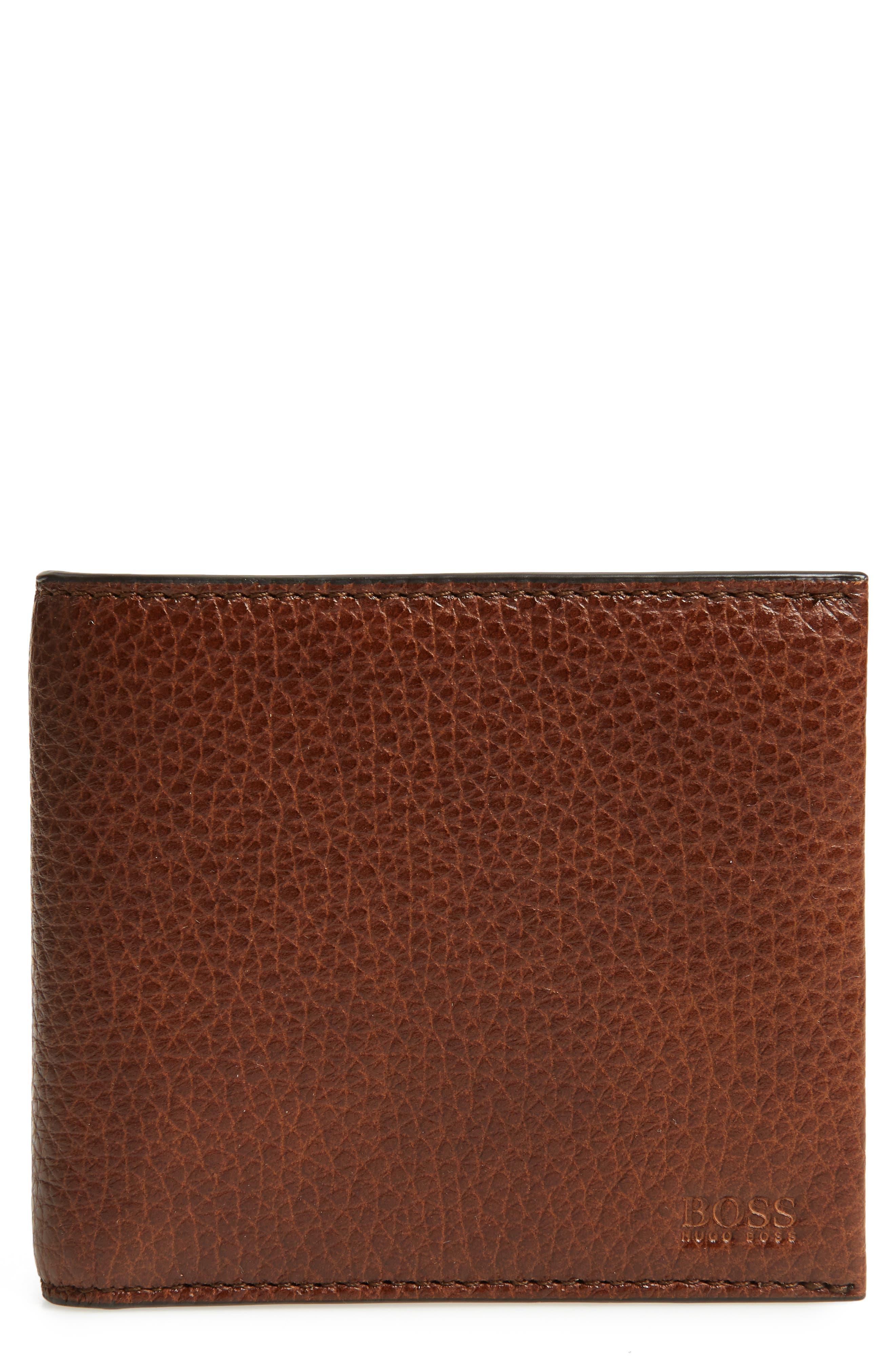 Traveller Leather Wallet,                             Main thumbnail 1, color,                             MEDIUM BROWN