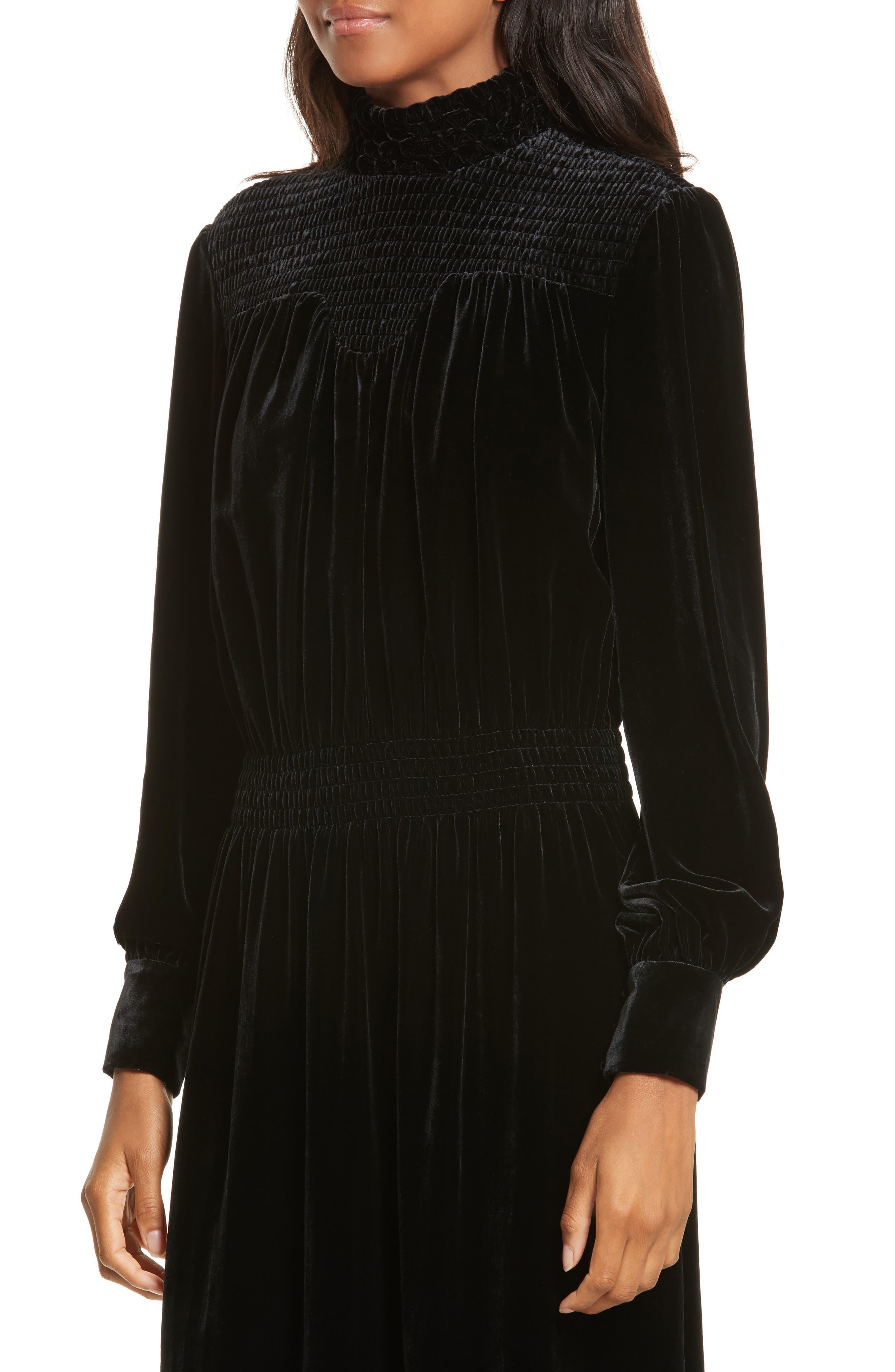 Smocked Velvet Midi Dress,                             Alternate thumbnail 4, color,