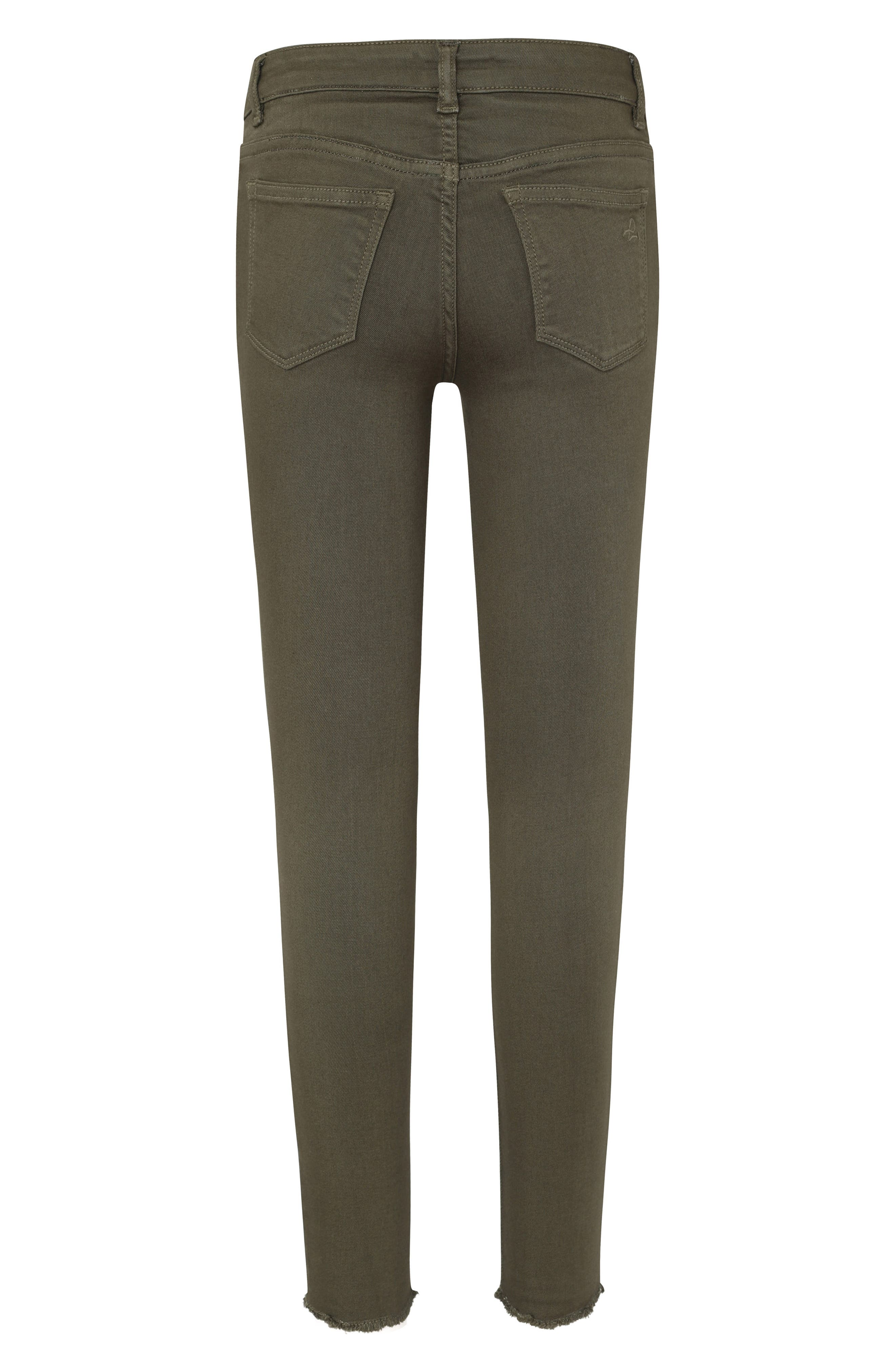 Raw Hem Skinny Jeans,                             Alternate thumbnail 2, color,                             CAMO GREEN