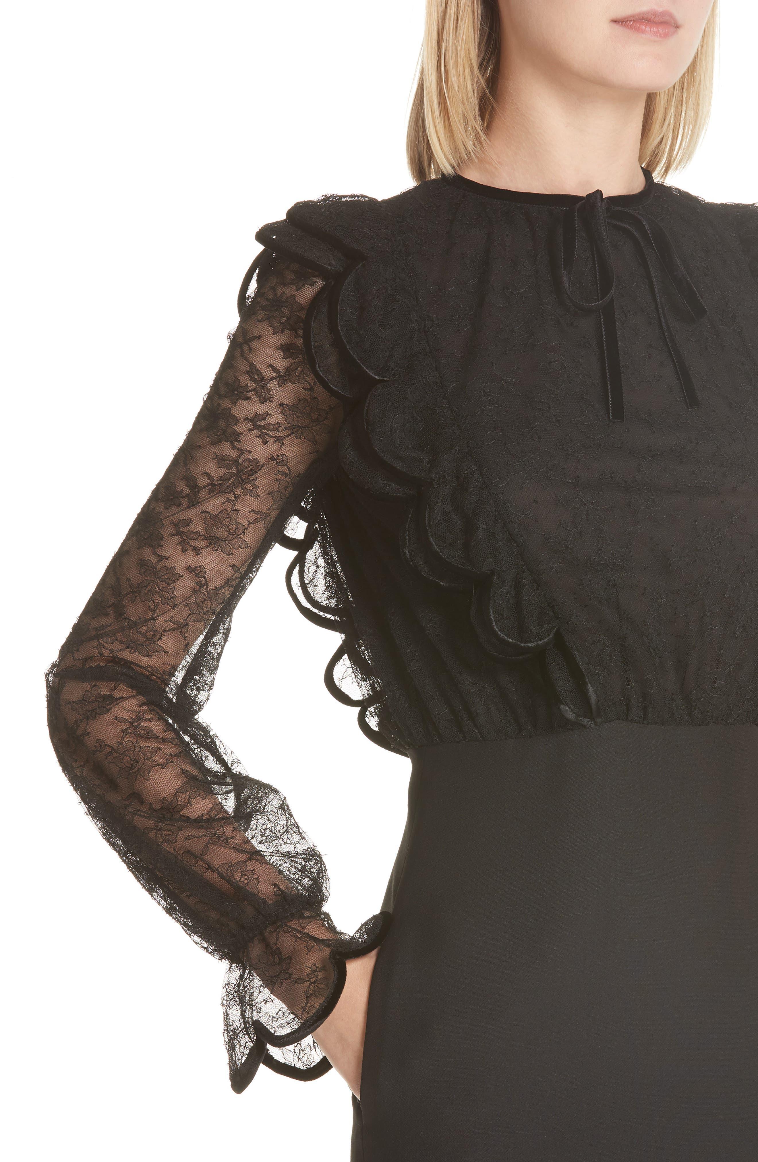 Lace Bodice Sheath Dress,                             Alternate thumbnail 4, color,                             001