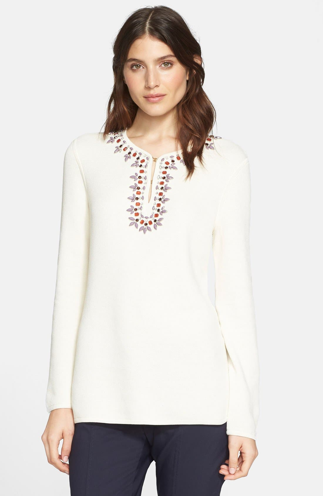 TORY BURCH,                             Embellished Tunic,                             Main thumbnail 1, color,                             907