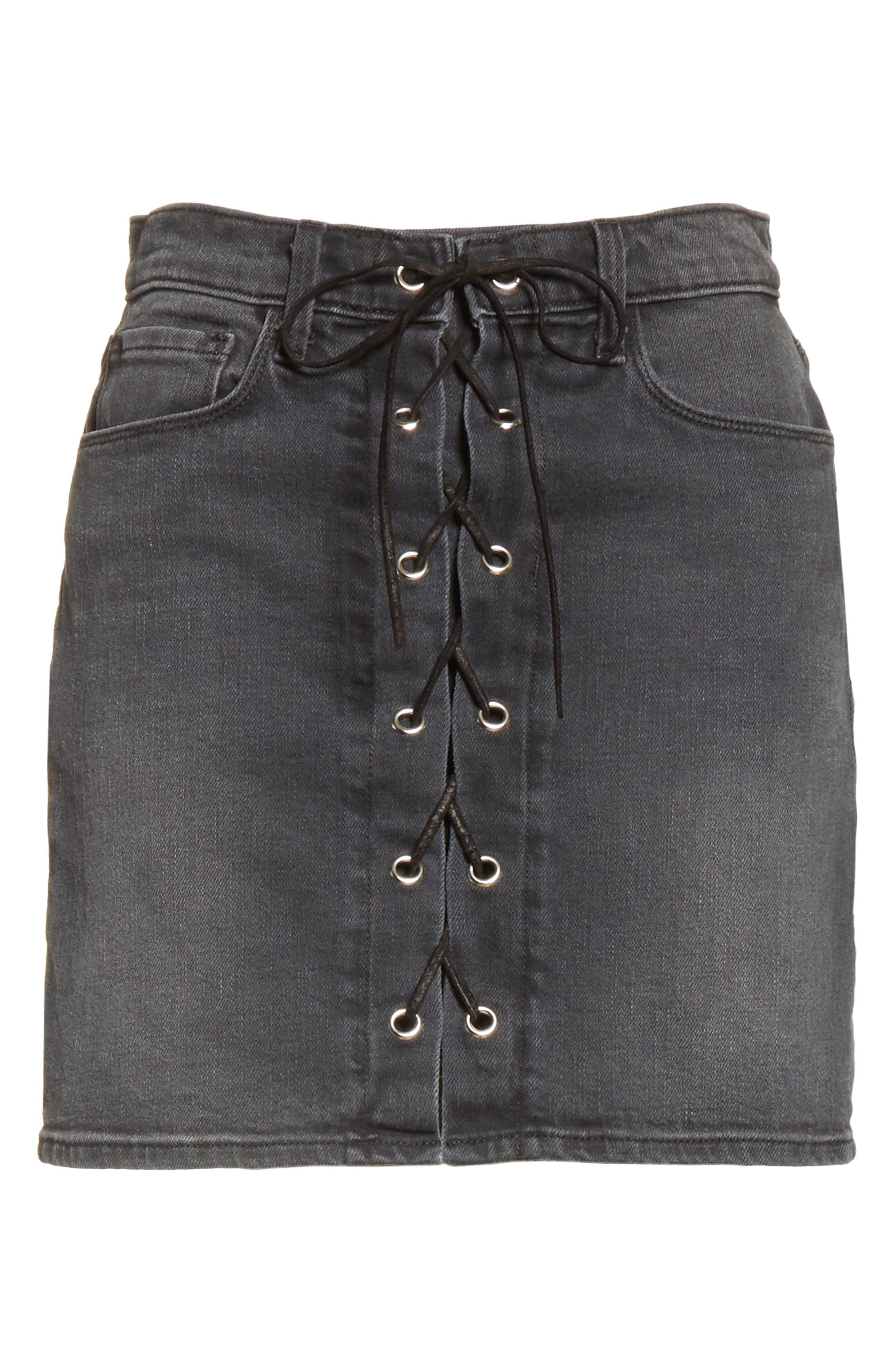 Portia Lace Up Denim Skirt,                             Alternate thumbnail 6, color,                             006