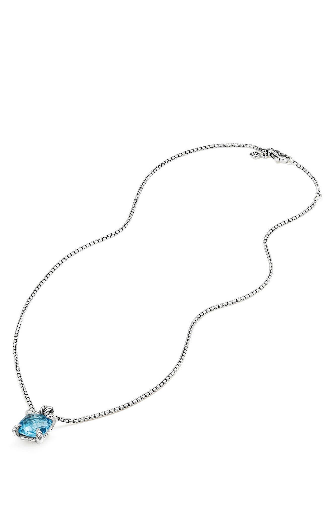 Châtelaine Pendant Necklace with Semiprecious Stone & Diamonds,                             Alternate thumbnail 2, color,                             BLUE TOPAZ?