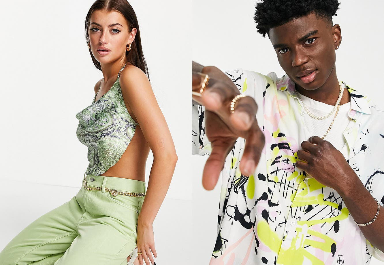 Woman and man wearing brands from ASOS.