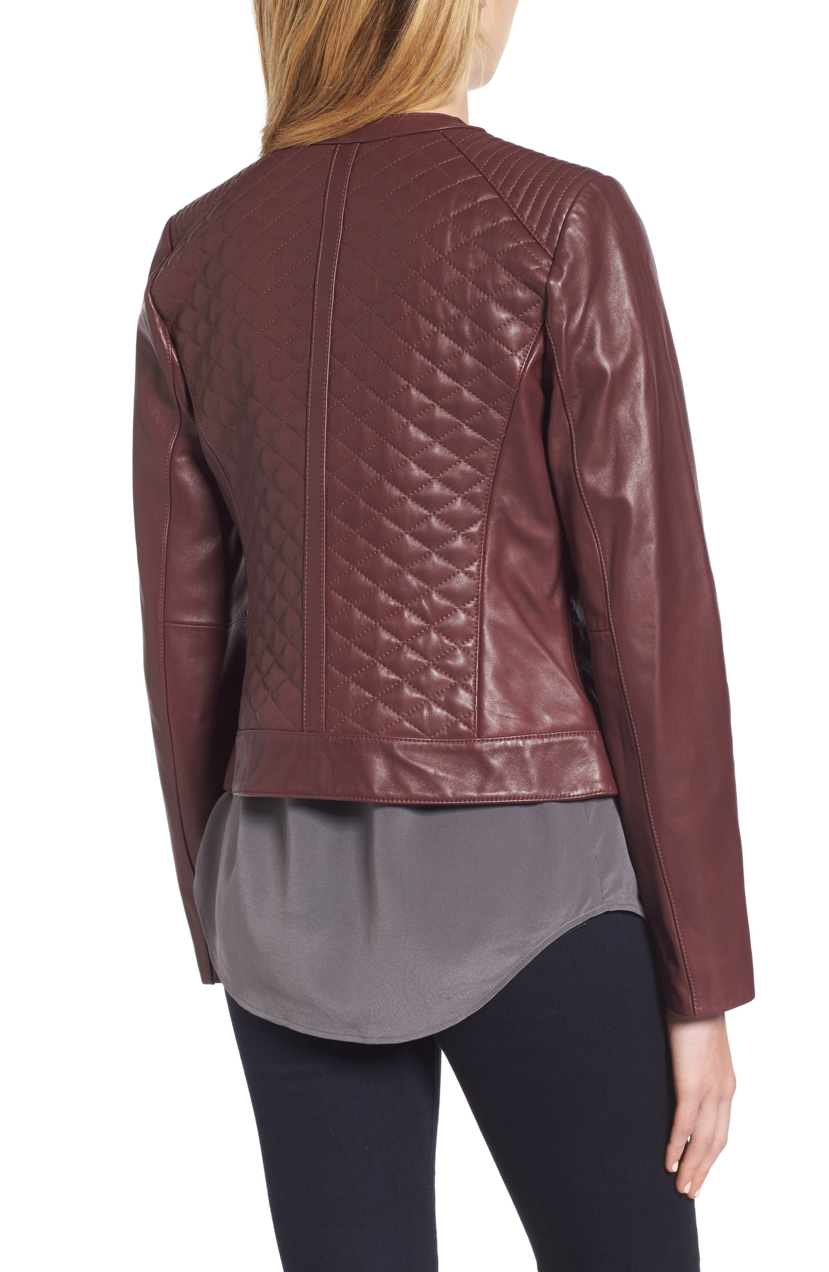 COLE HAAN,                             Quilted Leather Moto Jacket,                             Alternate thumbnail 2, color,                             602