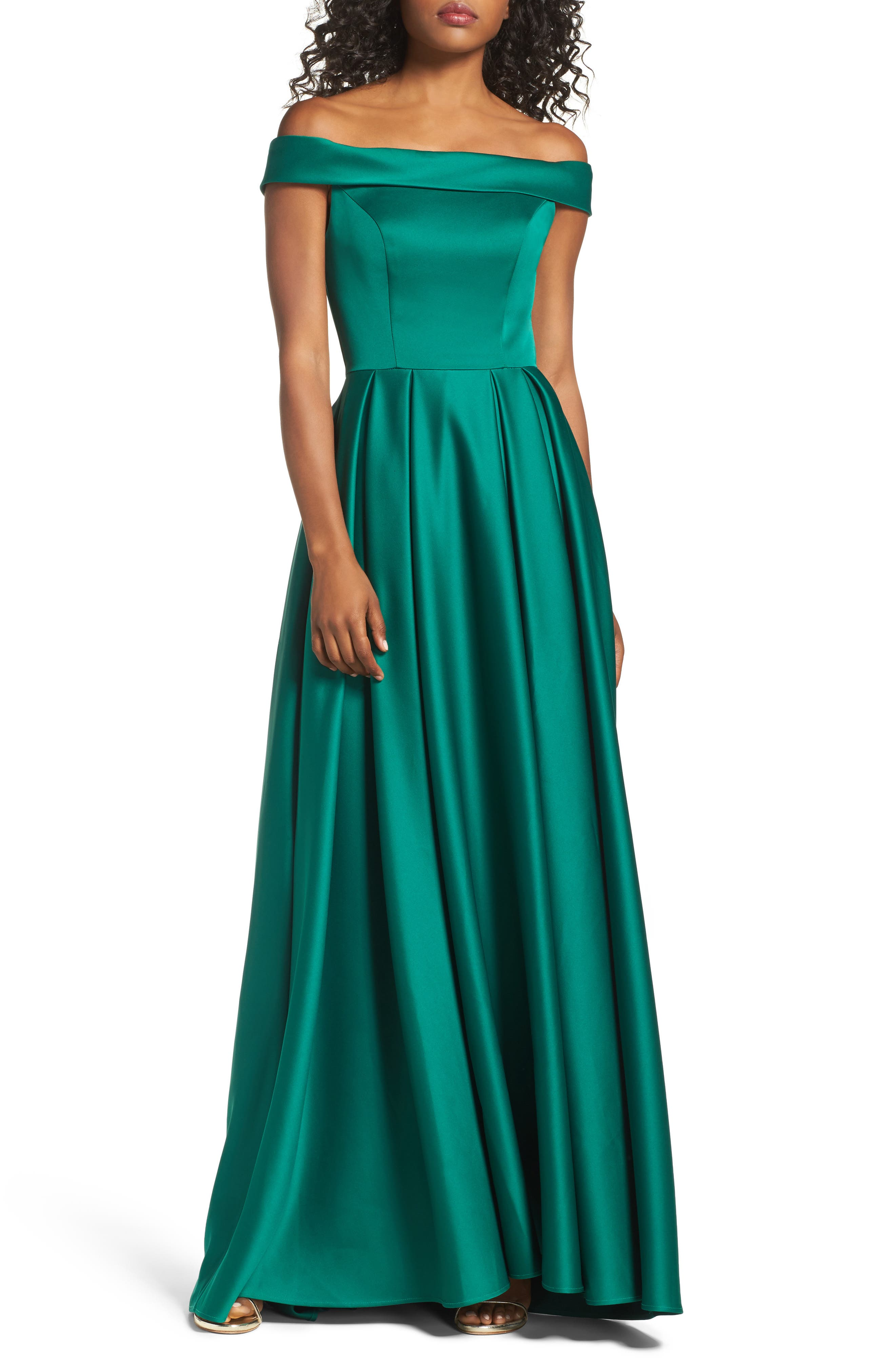 Mikado Off the Shoulder Gown, Main, color, EMERALD