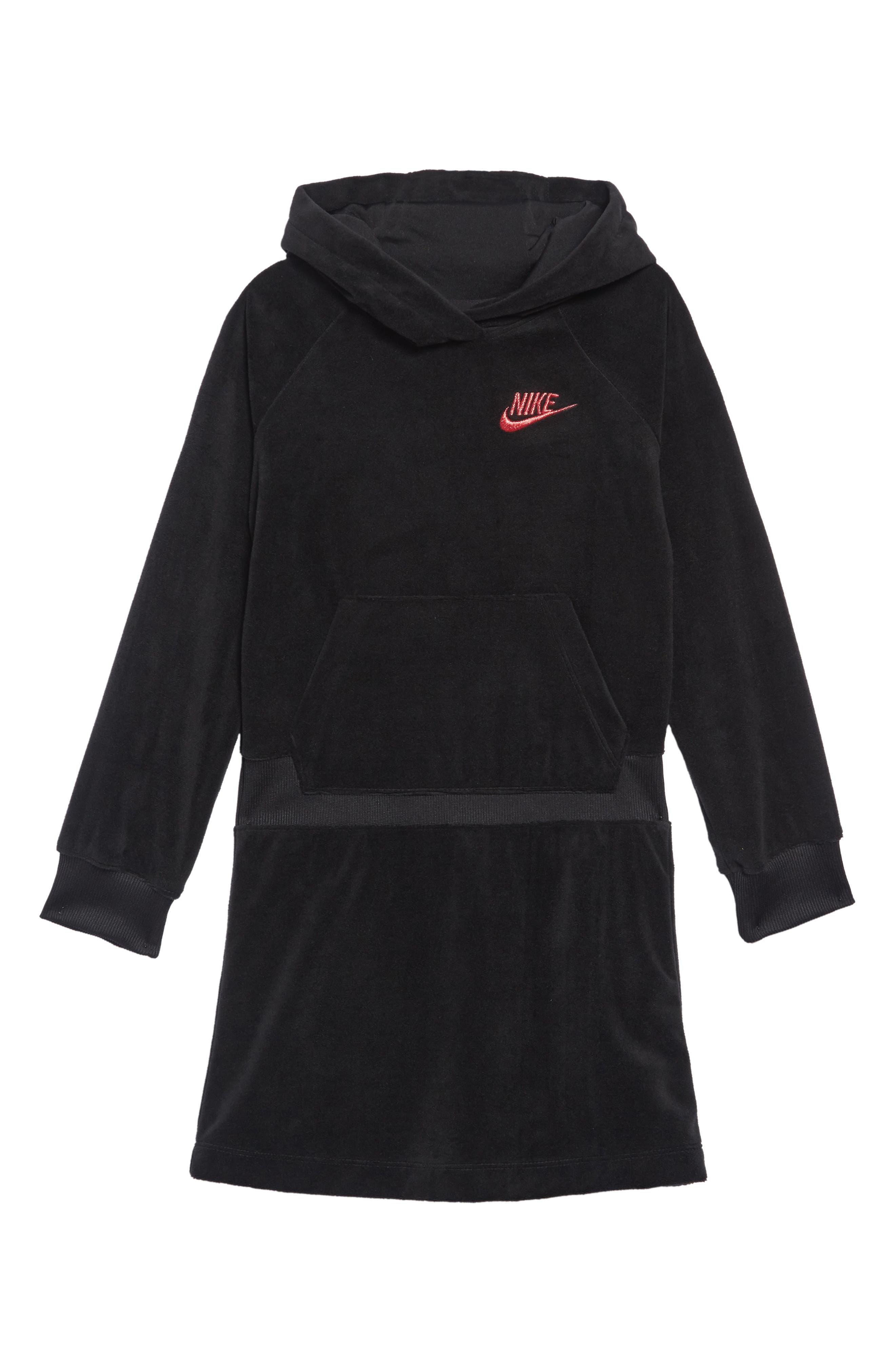 Velour Hooded Sweatshirt Dress,                             Main thumbnail 1, color,                             BLACK