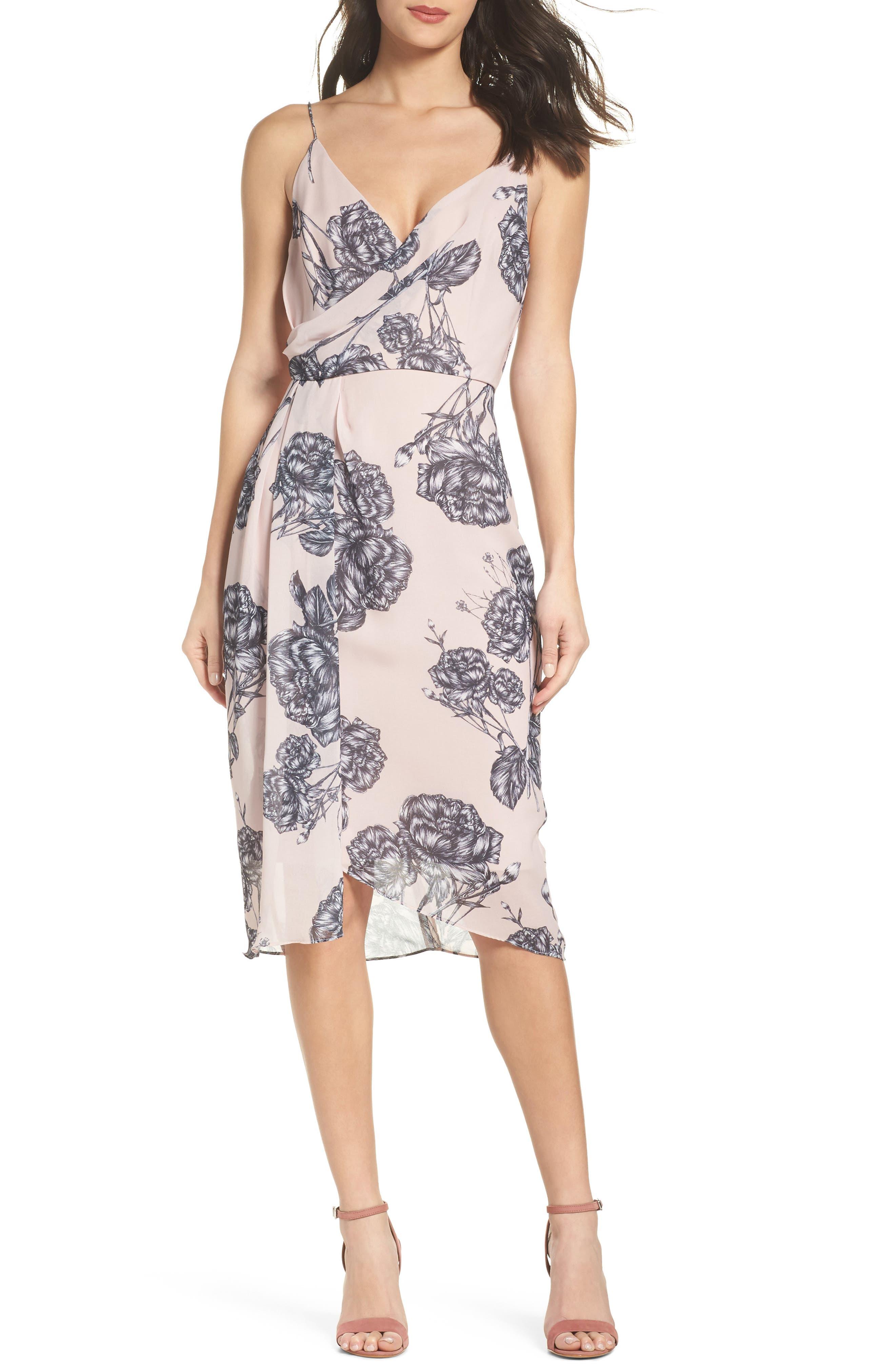 Bellini Rose Drape Dress,                             Main thumbnail 1, color,                             650
