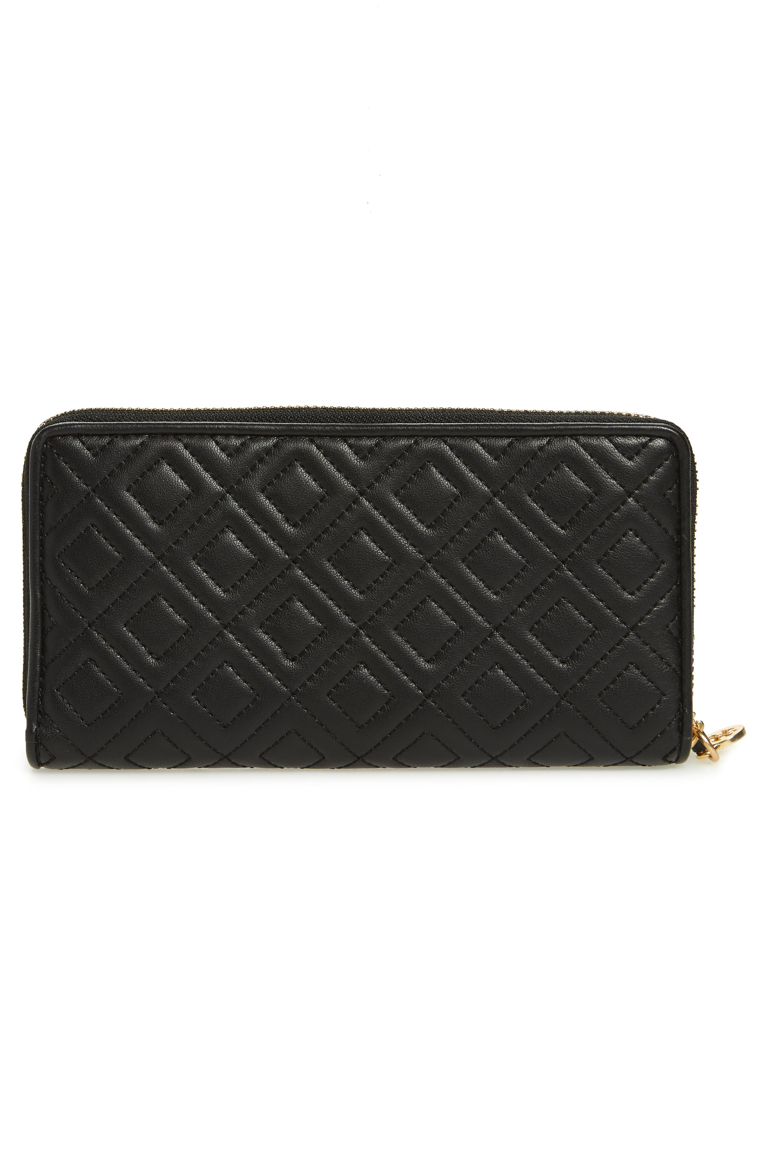 Fleming Leather Zip Around Wallet,                             Alternate thumbnail 3, color,                             BLACK
