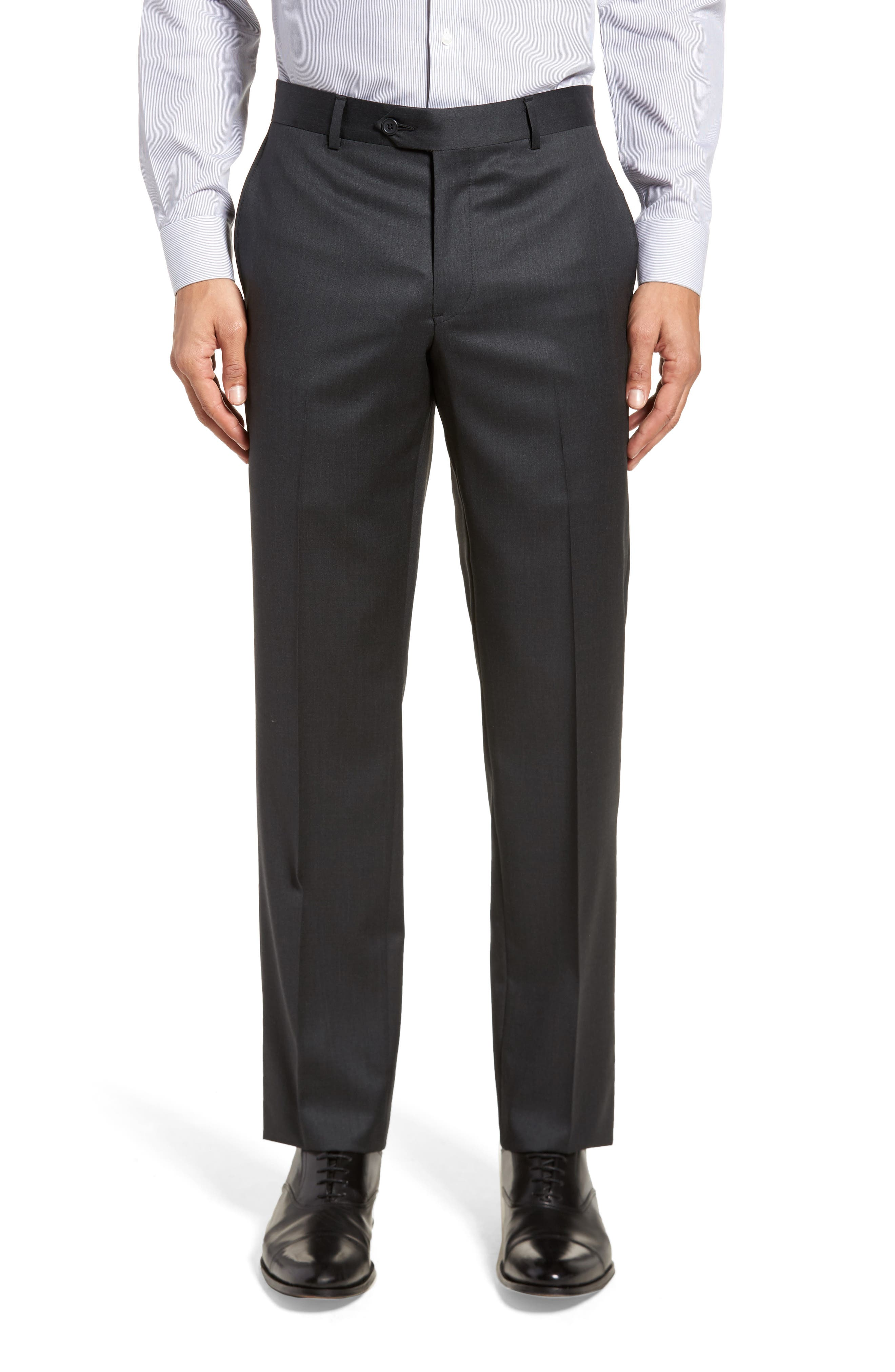 Trim Fit Solid Wool Suit,                             Alternate thumbnail 6, color,                             021