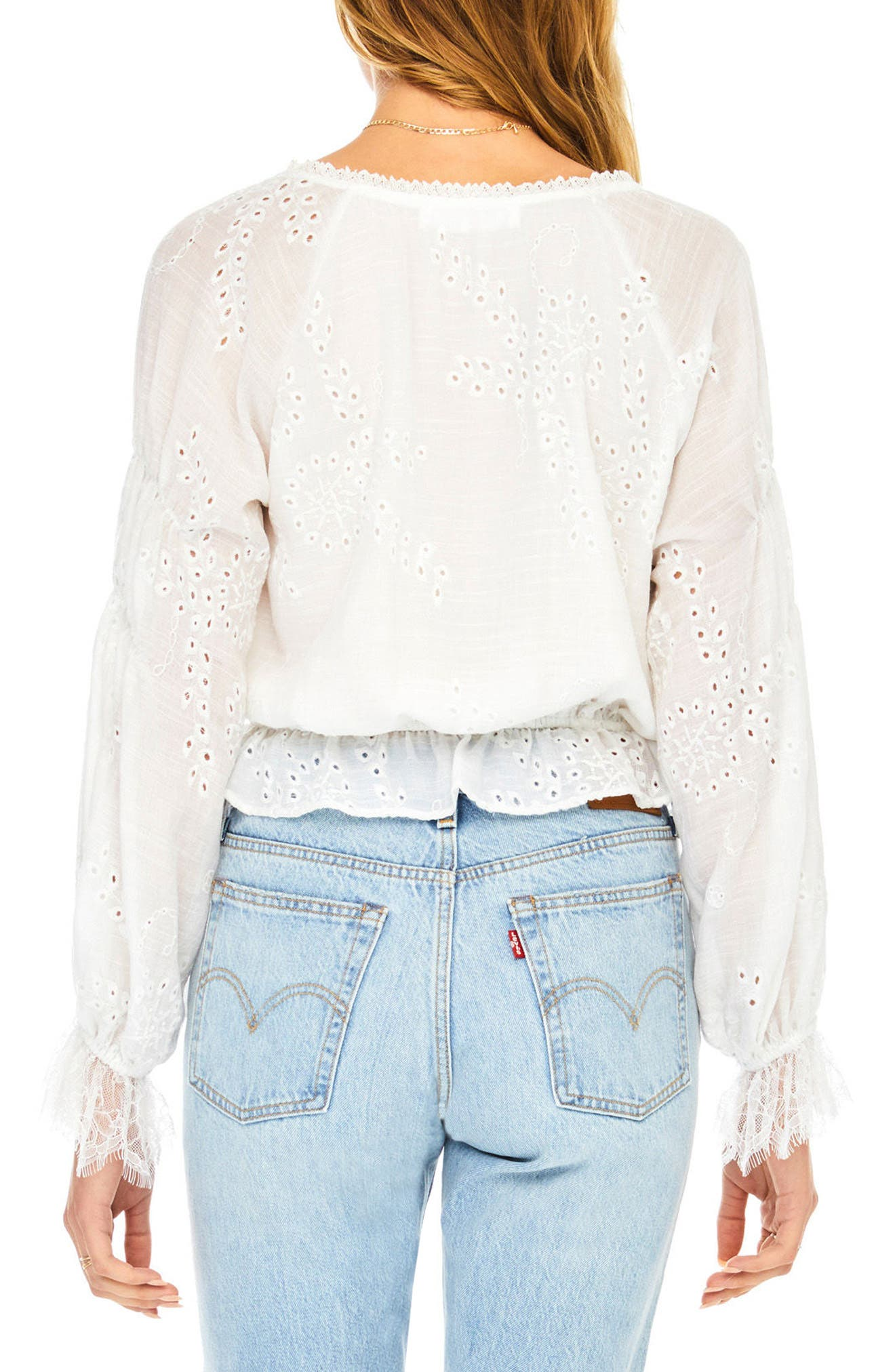 Lennon Eyelet Blouse,                             Alternate thumbnail 2, color,