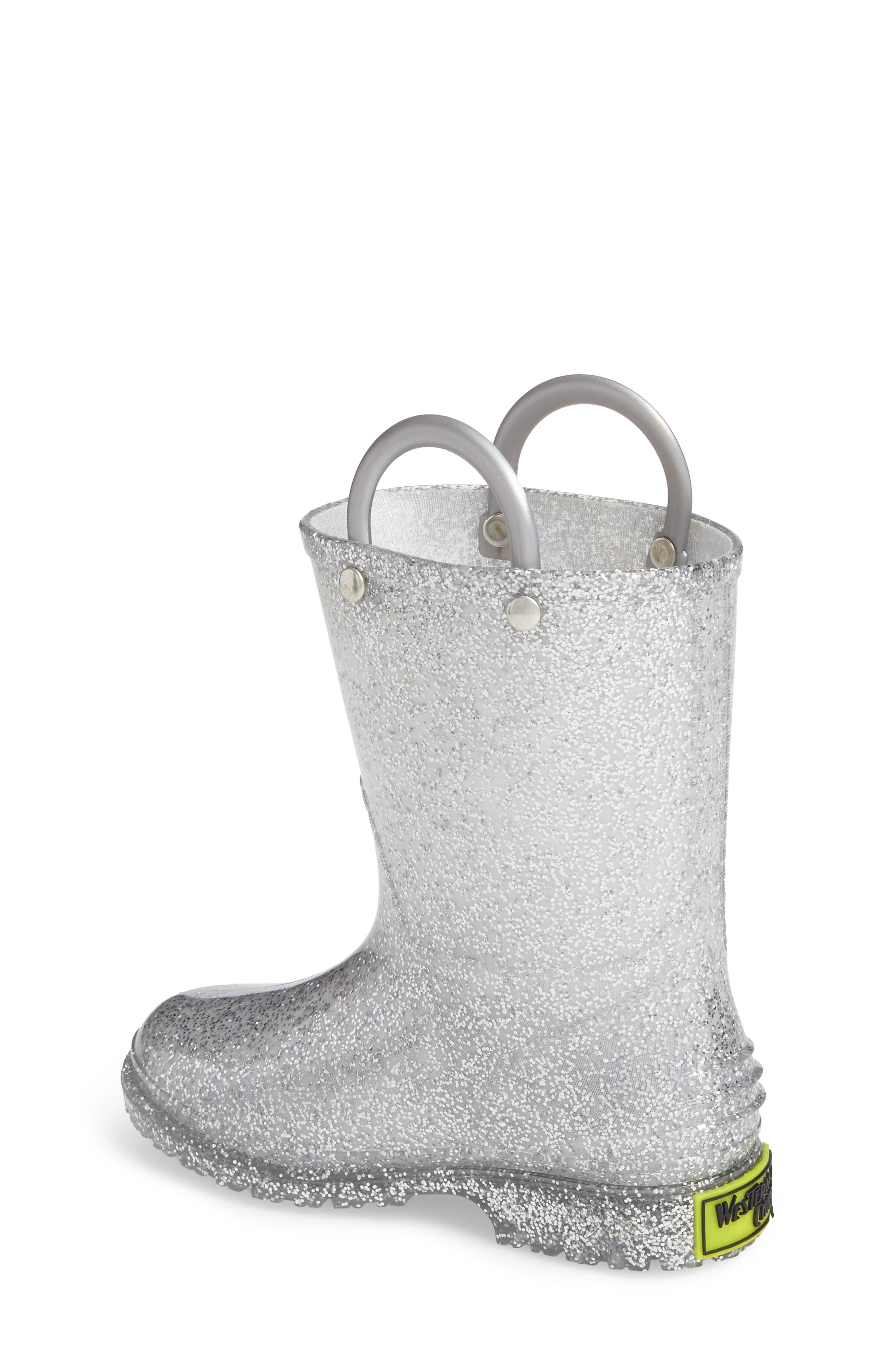 Glitter Rain Boot,                             Alternate thumbnail 2, color,                             SILVER