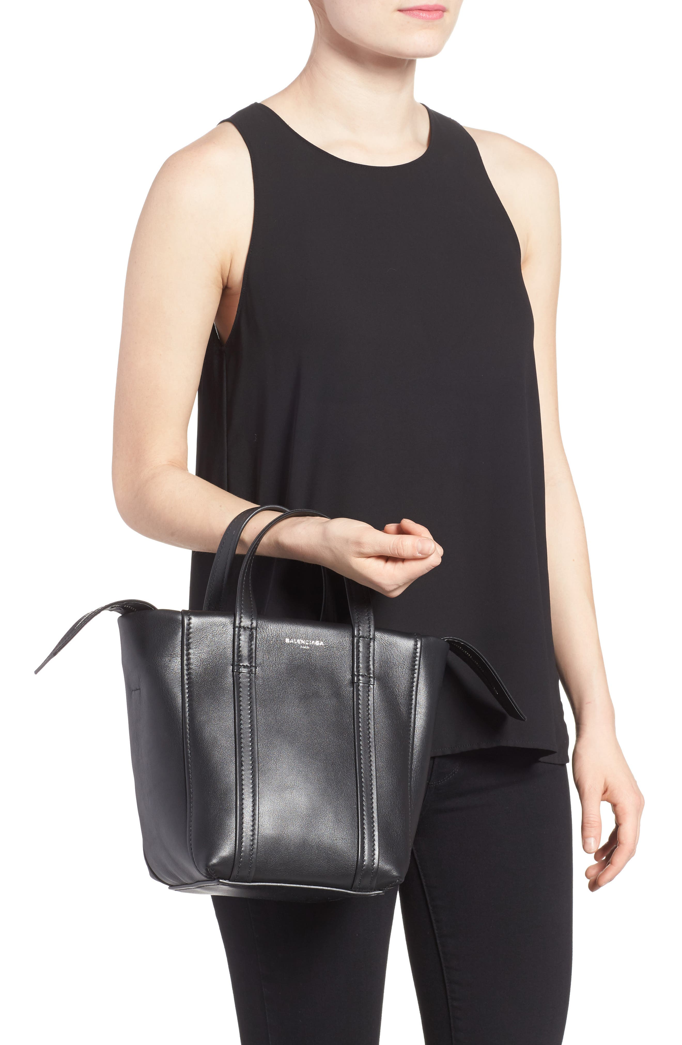 Extra Small Laundry Cabas Calfskin Tote,                             Alternate thumbnail 2, color,                             NOIR