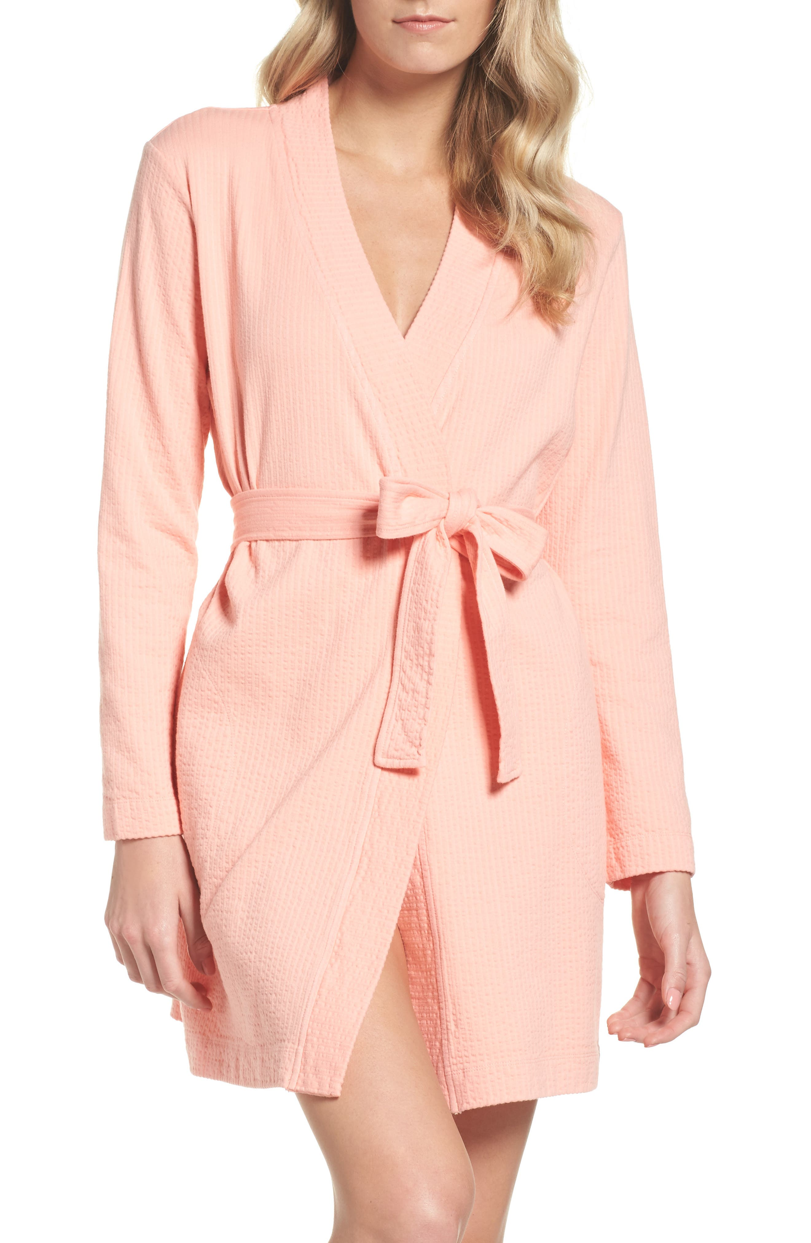 Jillie Short Robe,                         Main,                         color, VIBRANT CORAL