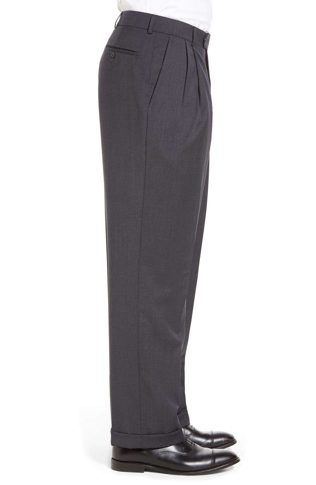 Pleated Solid Wool Trousers,                             Alternate thumbnail 30, color,