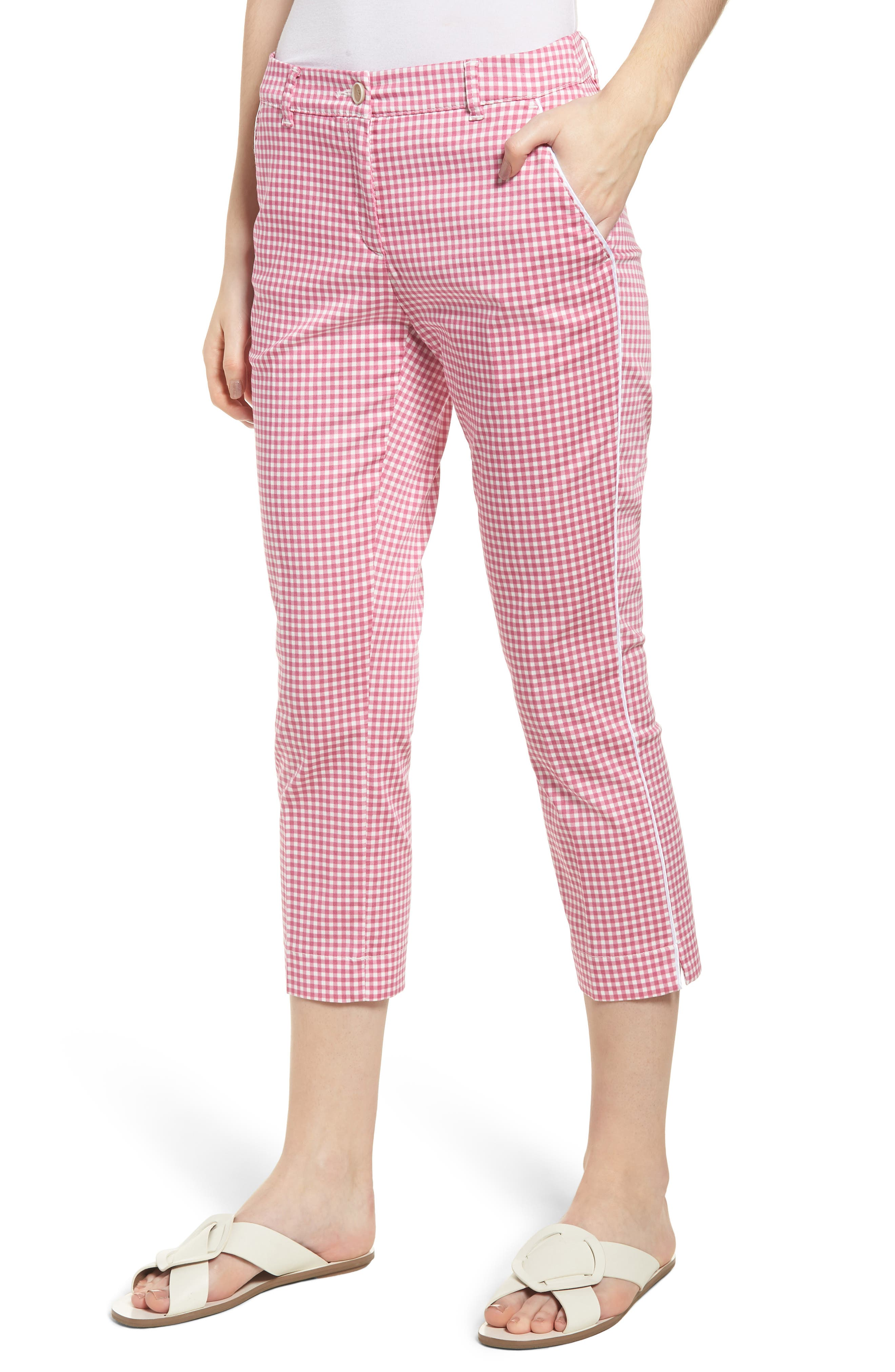 Maron Gingham Stretch Cotton Pants,                             Main thumbnail 1, color,