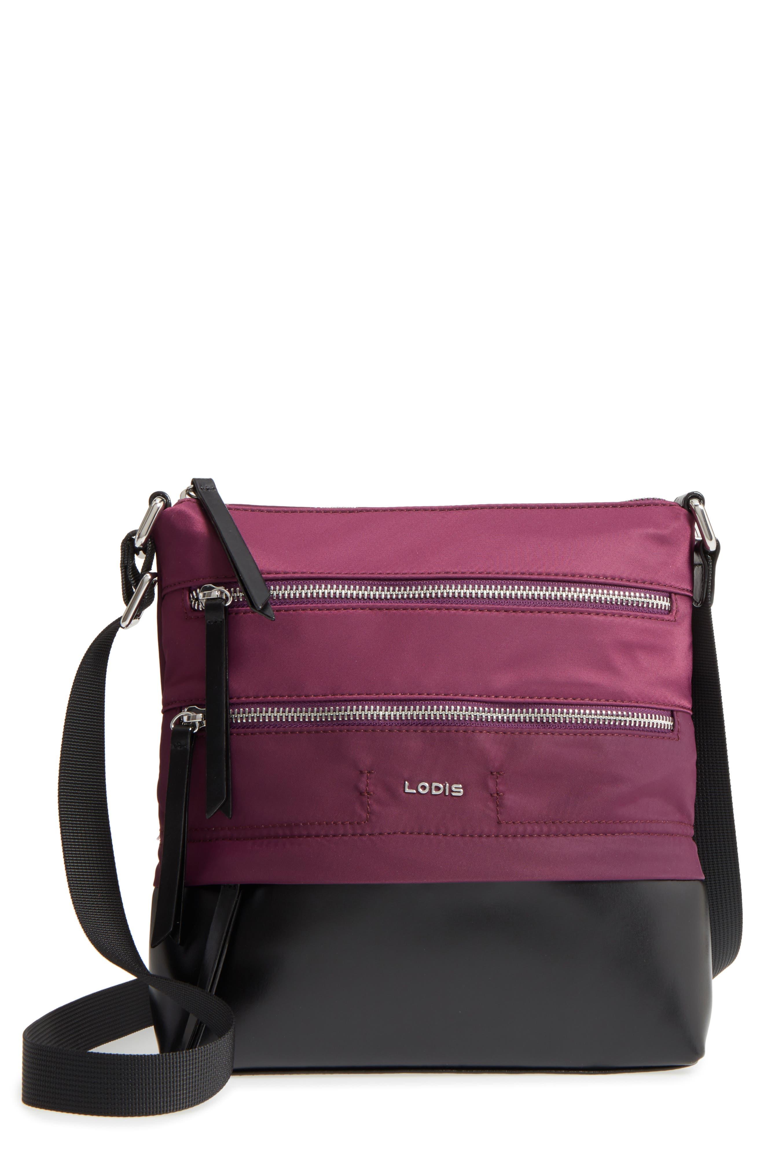 Wanda RFID Nylon & Leather Crossbody Bag,                         Main,                         color, 500