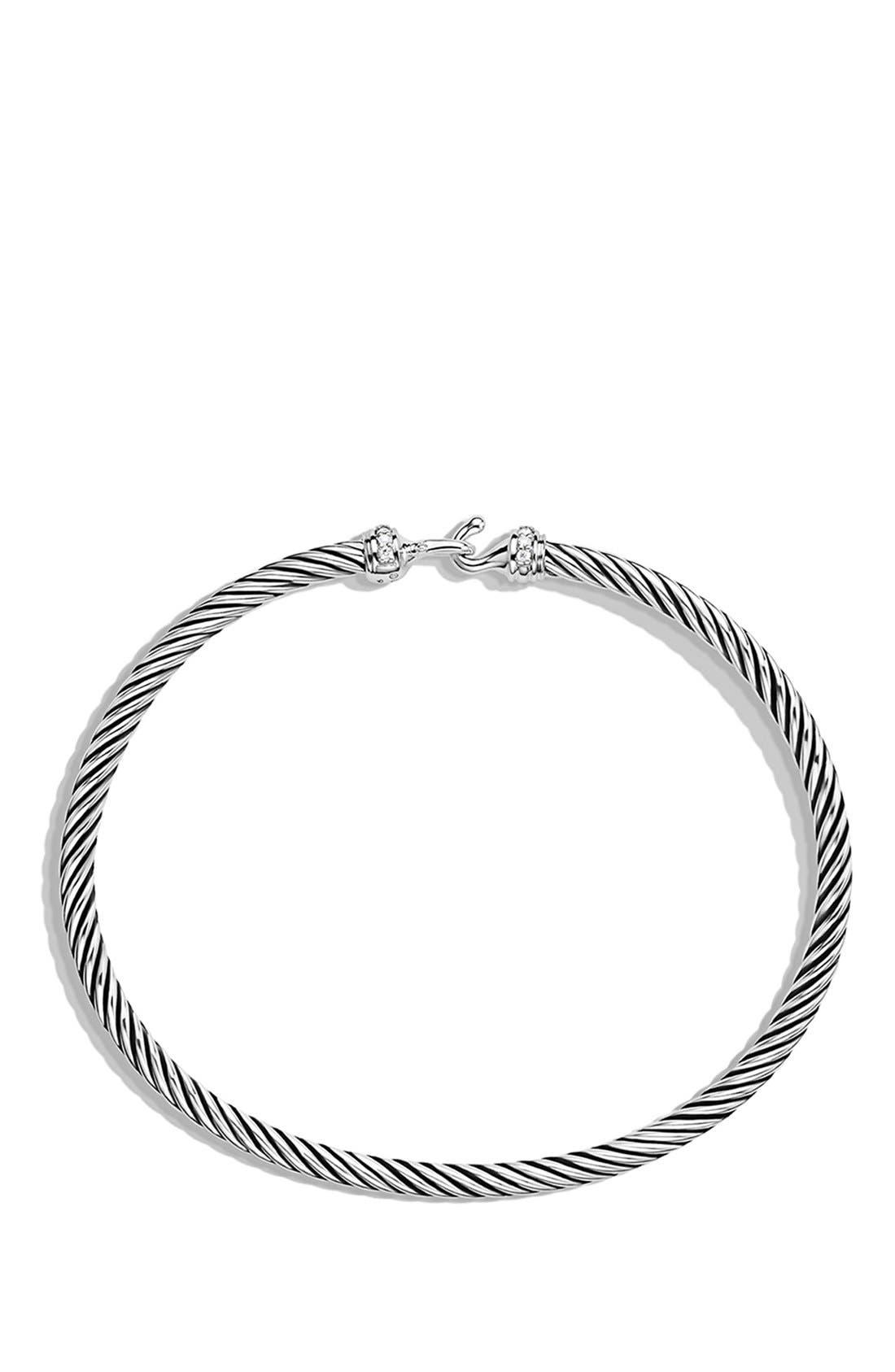DAVID YURMAN,                             Cable Collectibles Buckle Bangle Bracelet with Diamonds, 3mm,                             Alternate thumbnail 2, color,                             DIAMOND