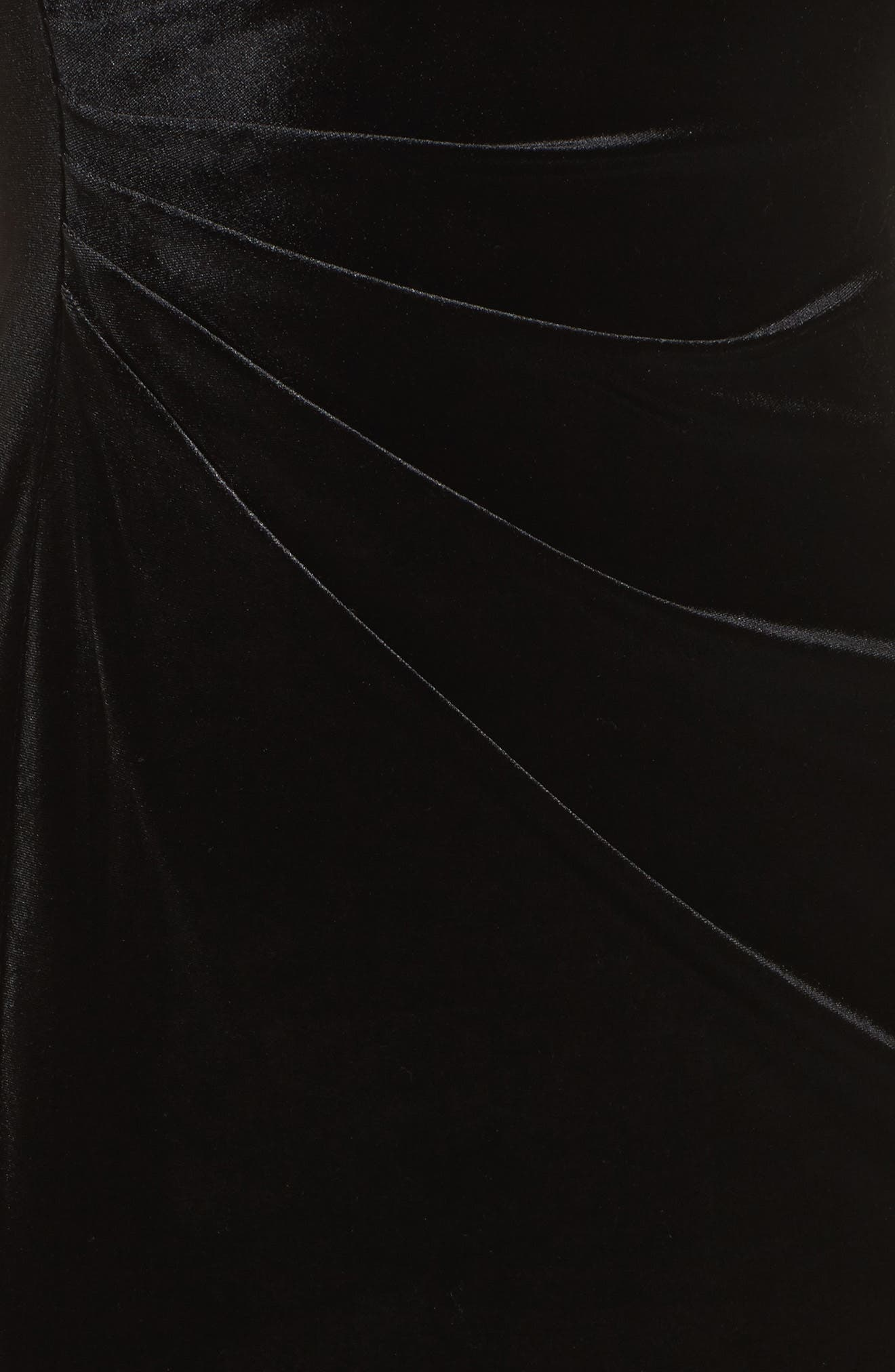 Plunging Side Drape Velvet Gown,                             Alternate thumbnail 5, color,                             001