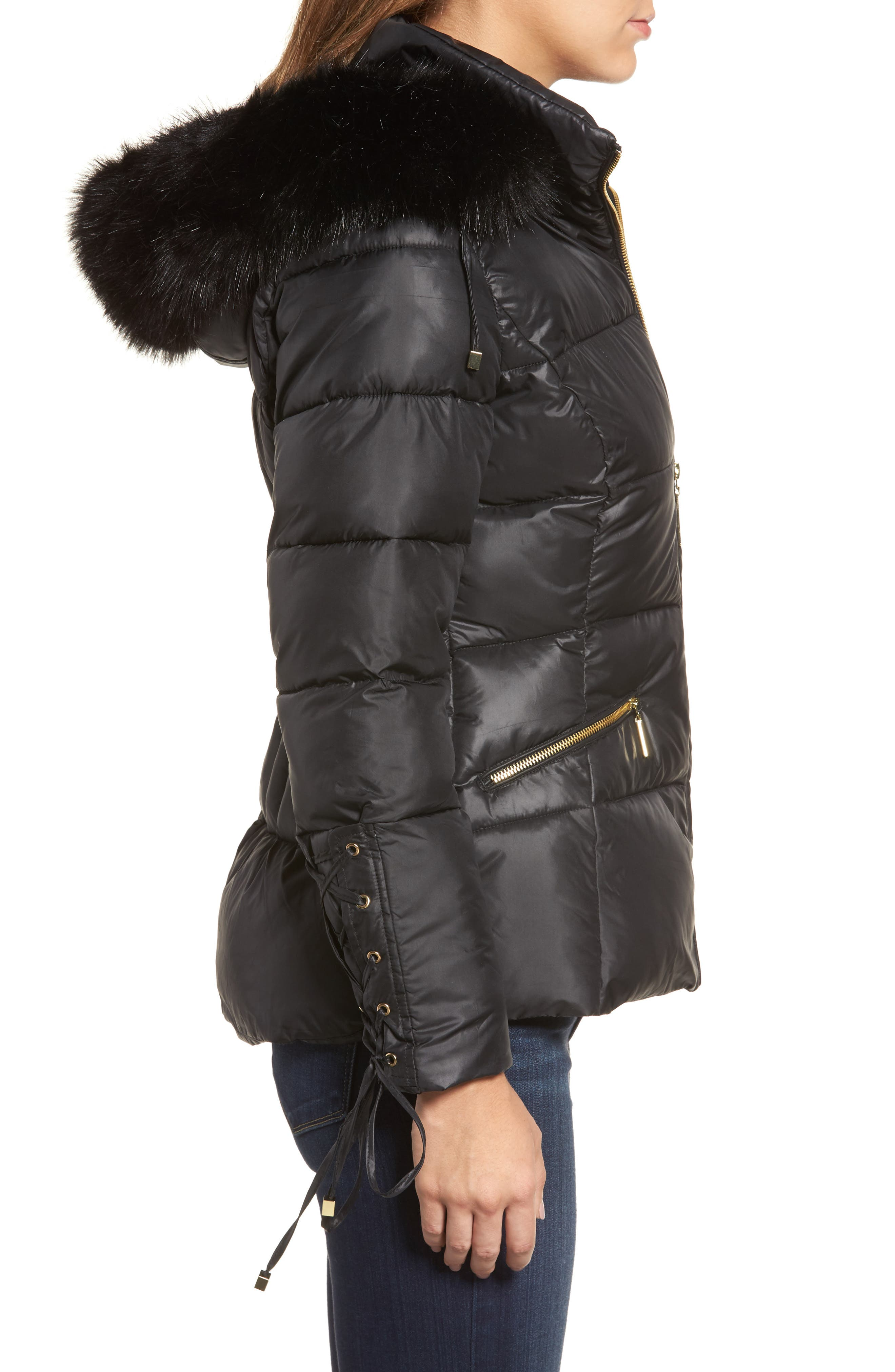Lace Sleeve Puffer Coat with Faux Fur Trim Hood,                             Alternate thumbnail 5, color,