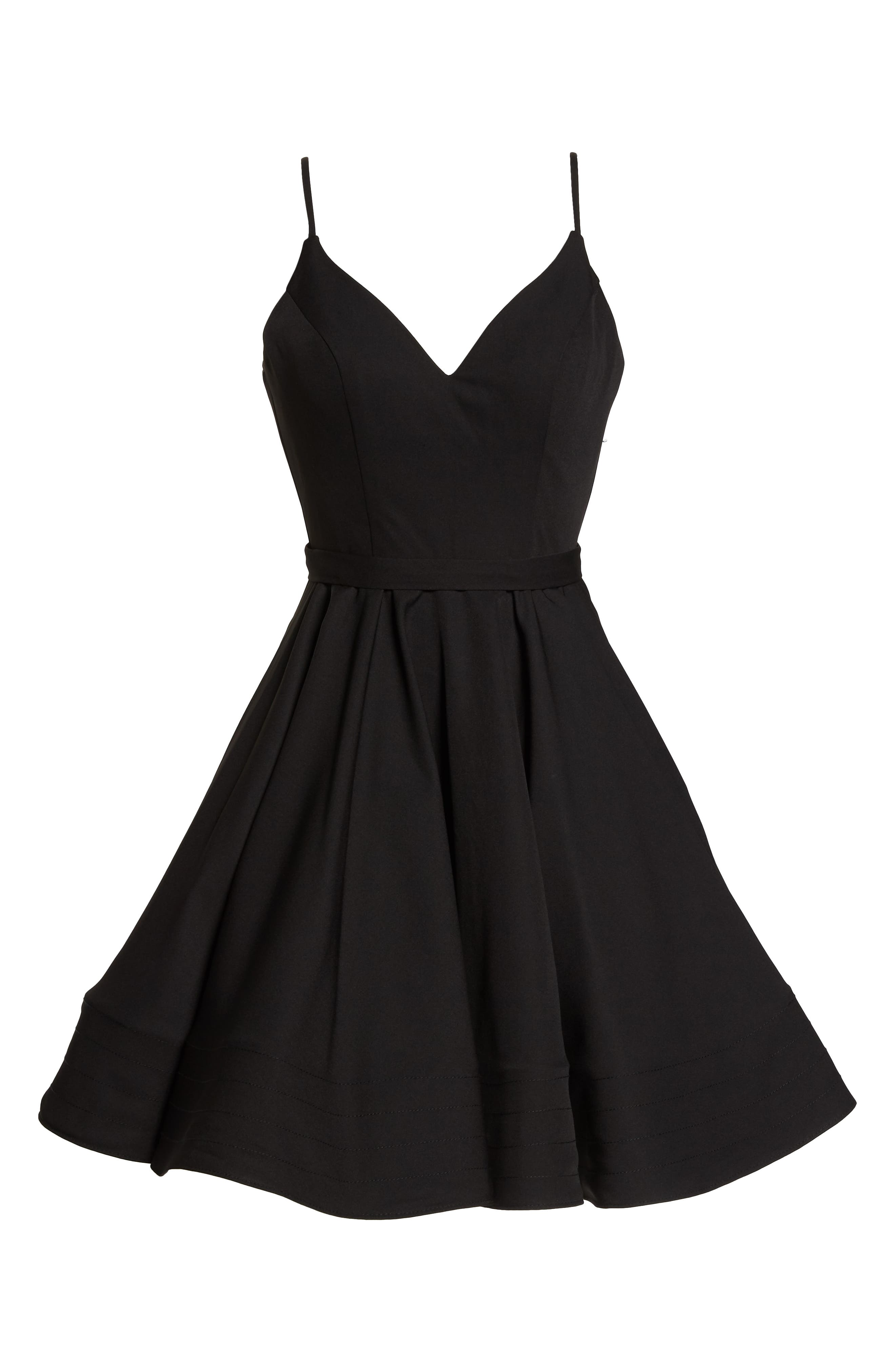 Fit & Flare Party Dress,                             Alternate thumbnail 7, color,                             BLACK