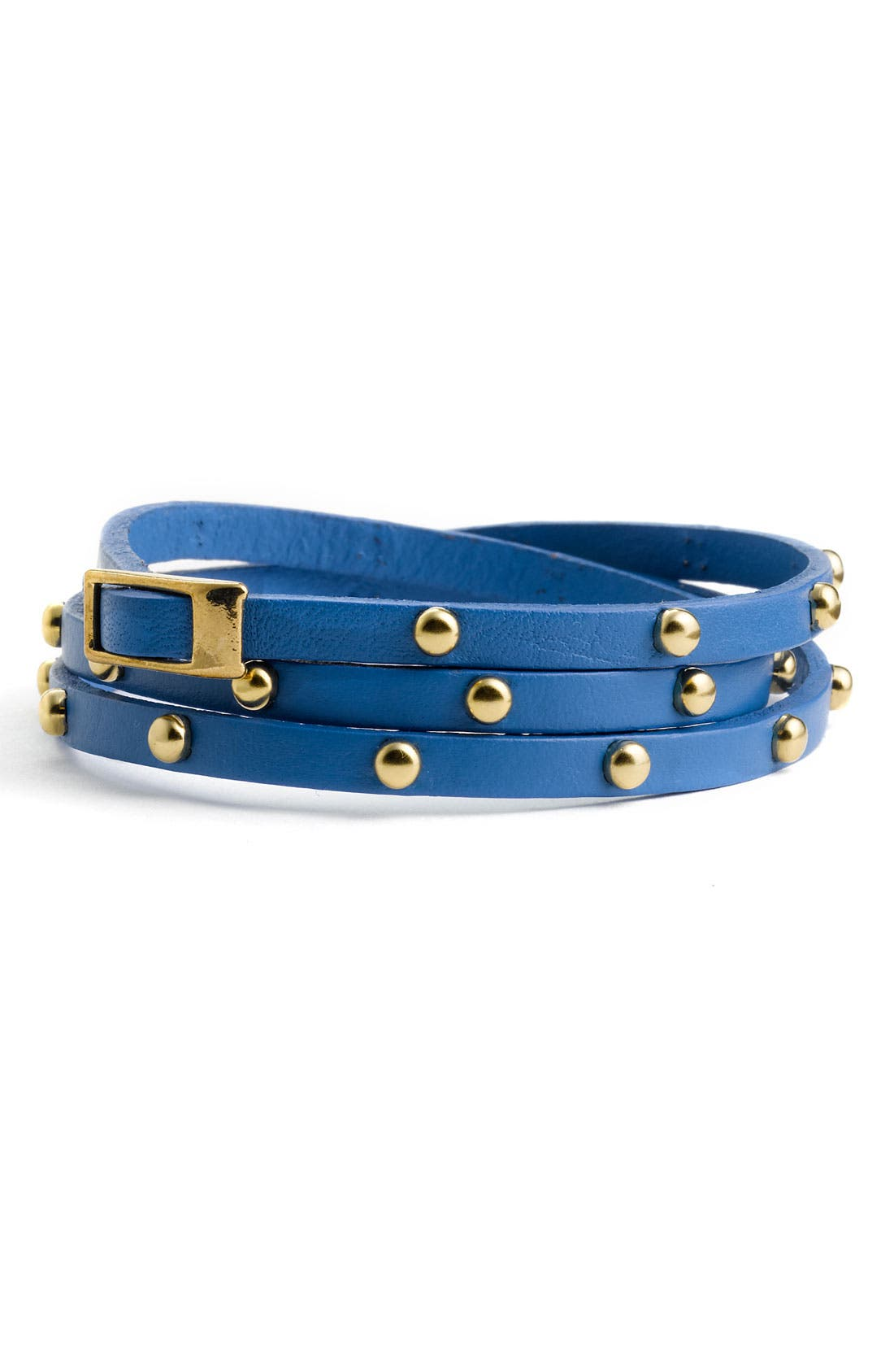 Accessories Leather & Metal Stud Wrap Bracelet,                             Main thumbnail 4, color,