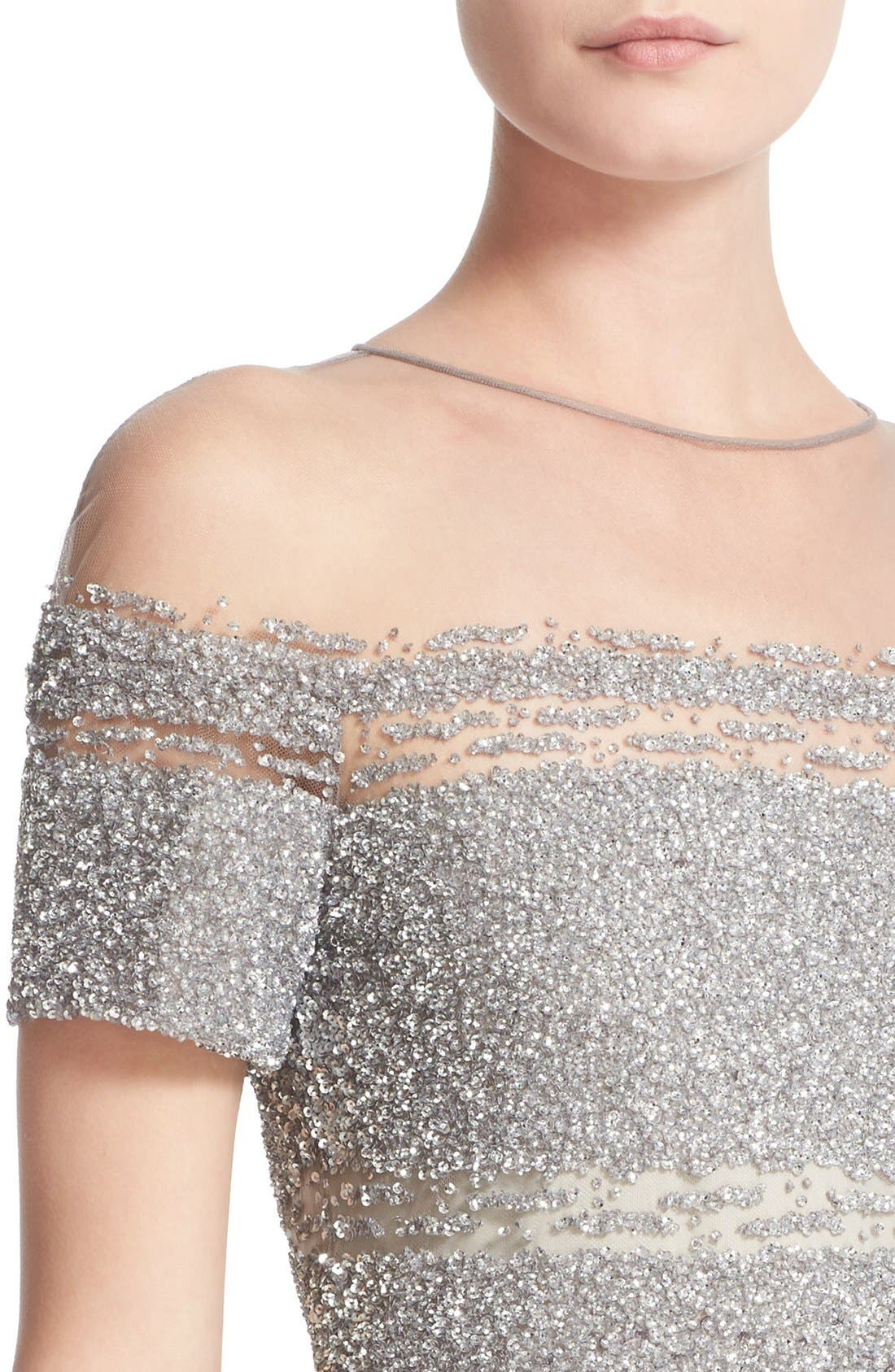 Signature Sequin Cap Sleeve Cocktail Dress,                             Alternate thumbnail 6, color,                             SILVER/ DARK GREY