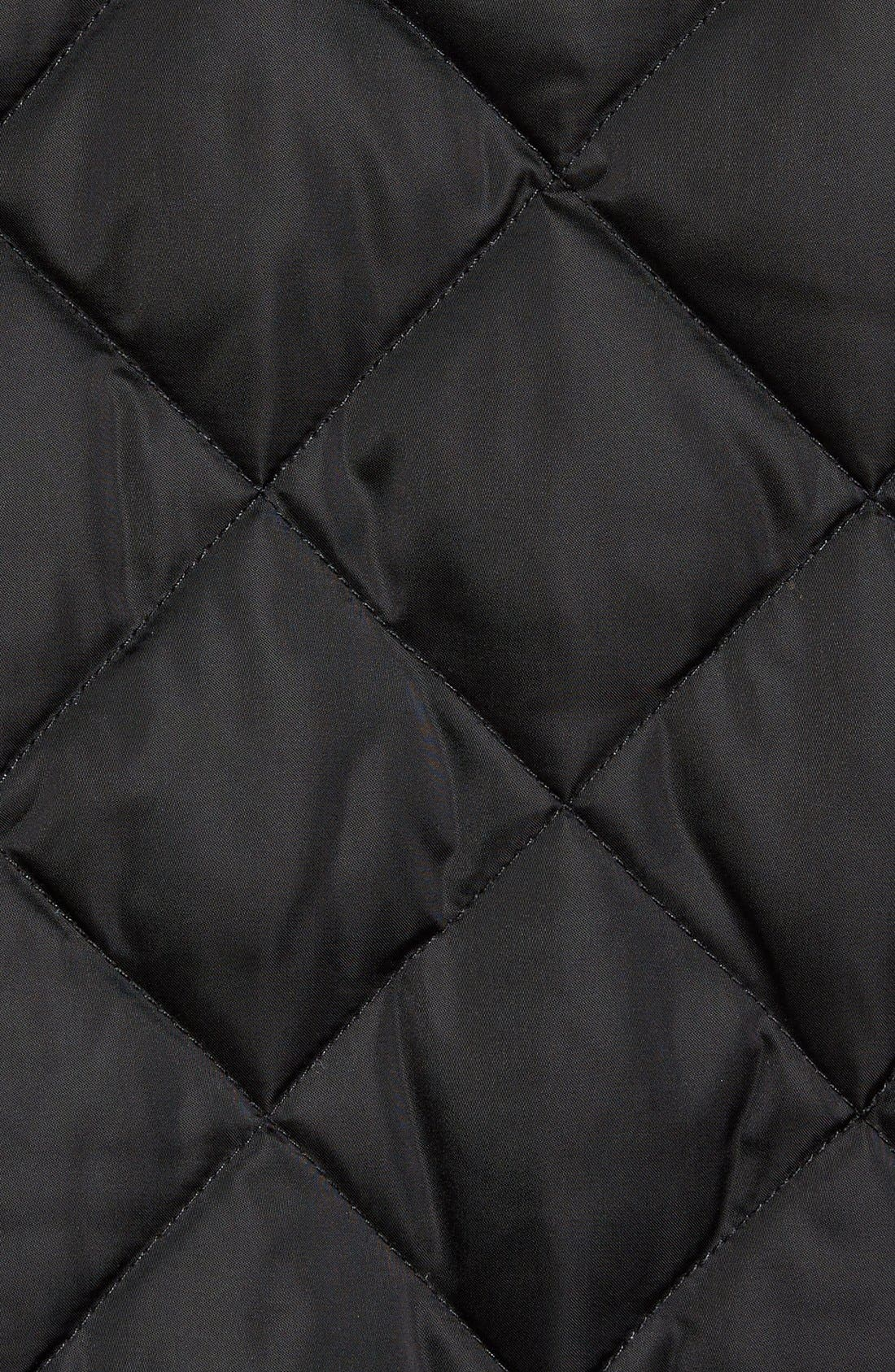 Café Racer Quilted Down Hooded Jacket,                             Alternate thumbnail 5, color,                             001