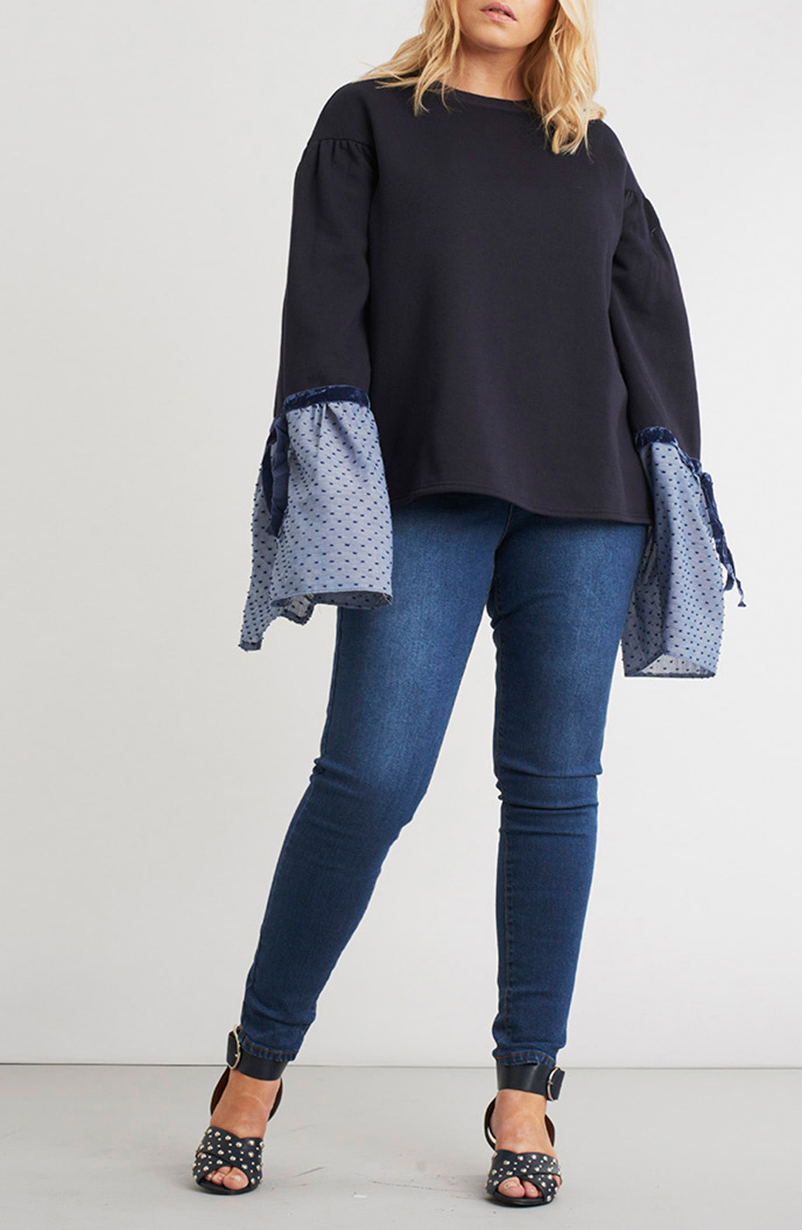 Sweatshirt with Woven Tie Sleeves,                             Alternate thumbnail 7, color,                             410