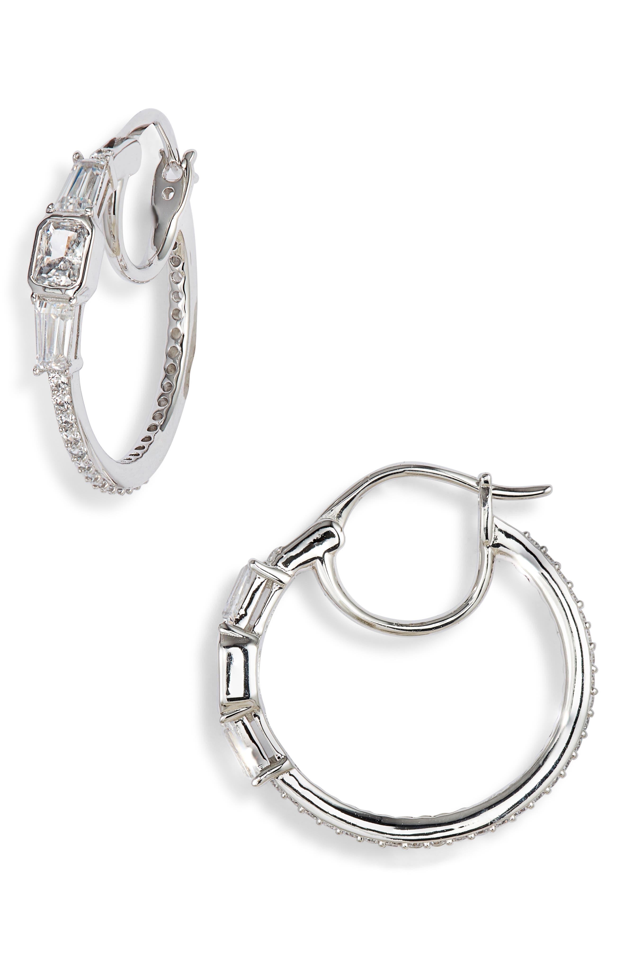 NADRI Crystal Hoop Earrings in White