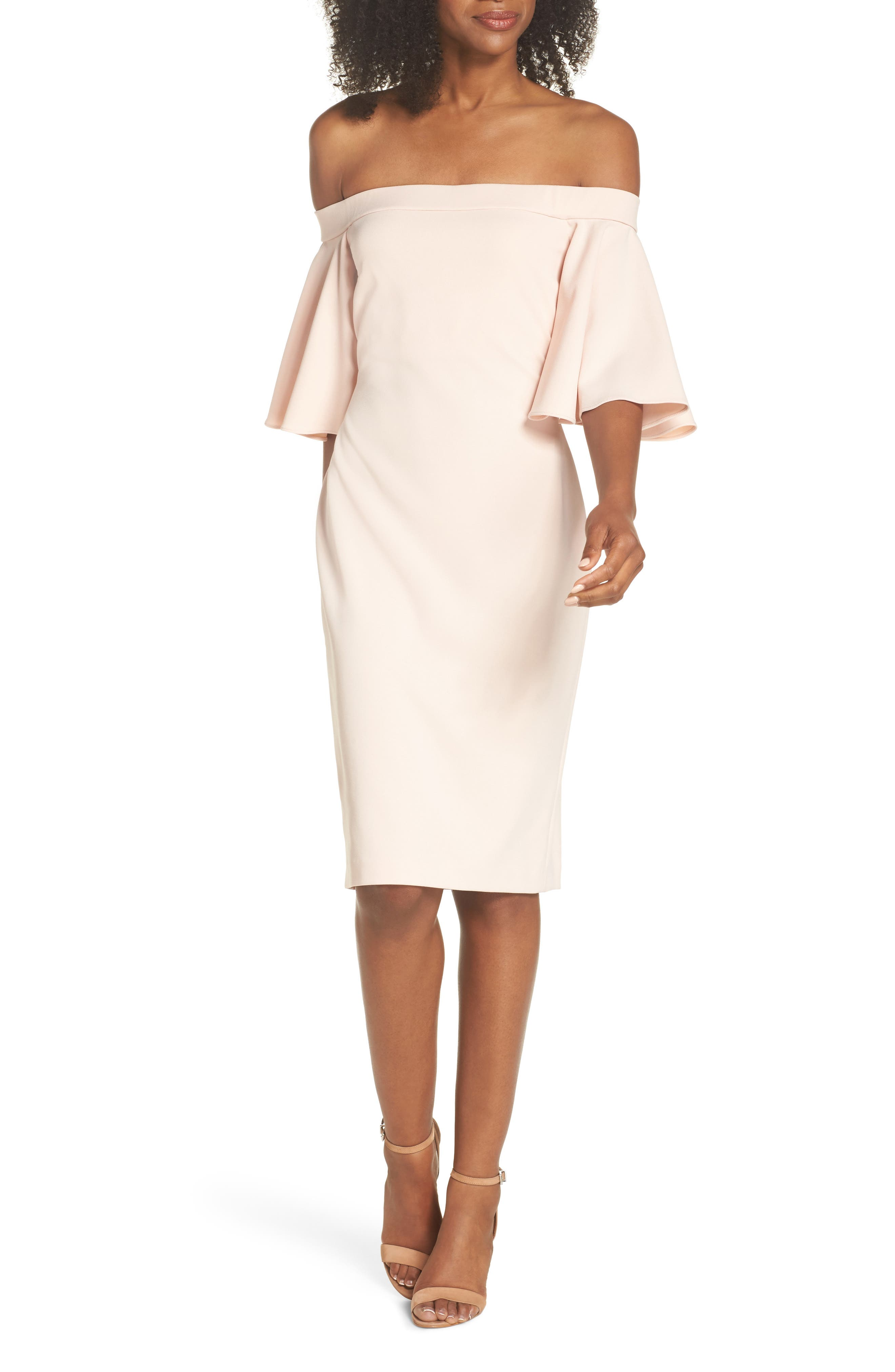 Off the Shoulder Sheath Dress,                         Main,                         color, BLUSH