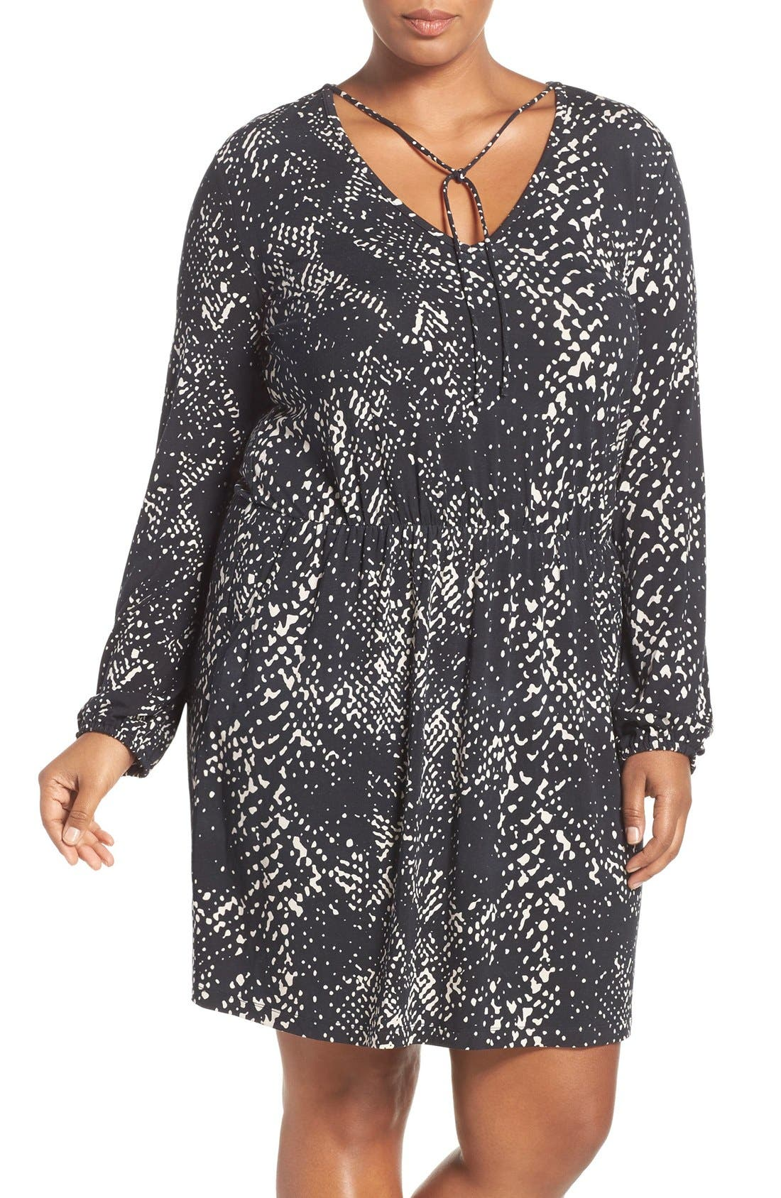 'Robby' Print Jersey V-Neck Dress,                             Main thumbnail 2, color,