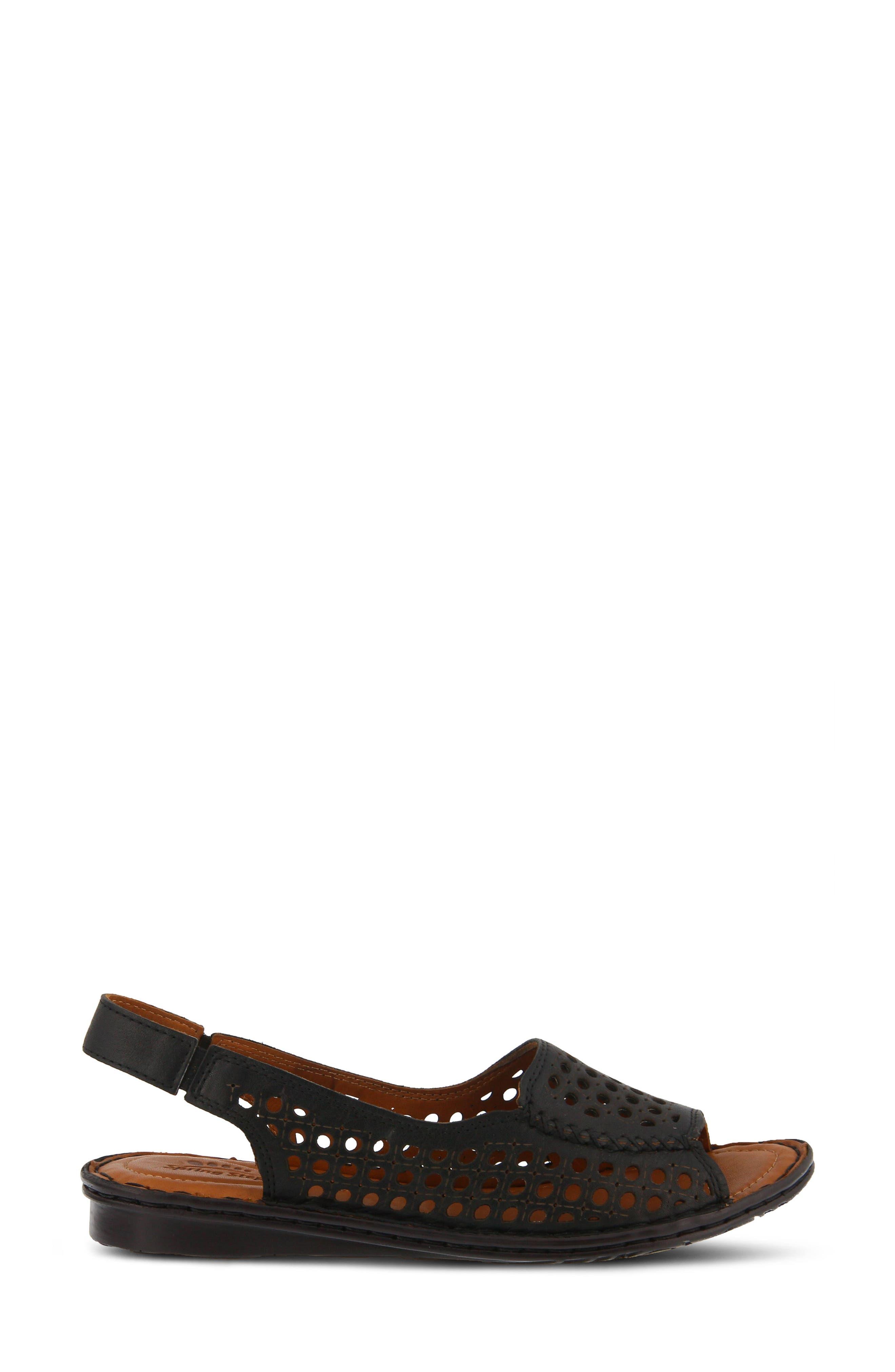 Jordana Slingback Sandal,                             Alternate thumbnail 3, color,                             BLACK LEATHER