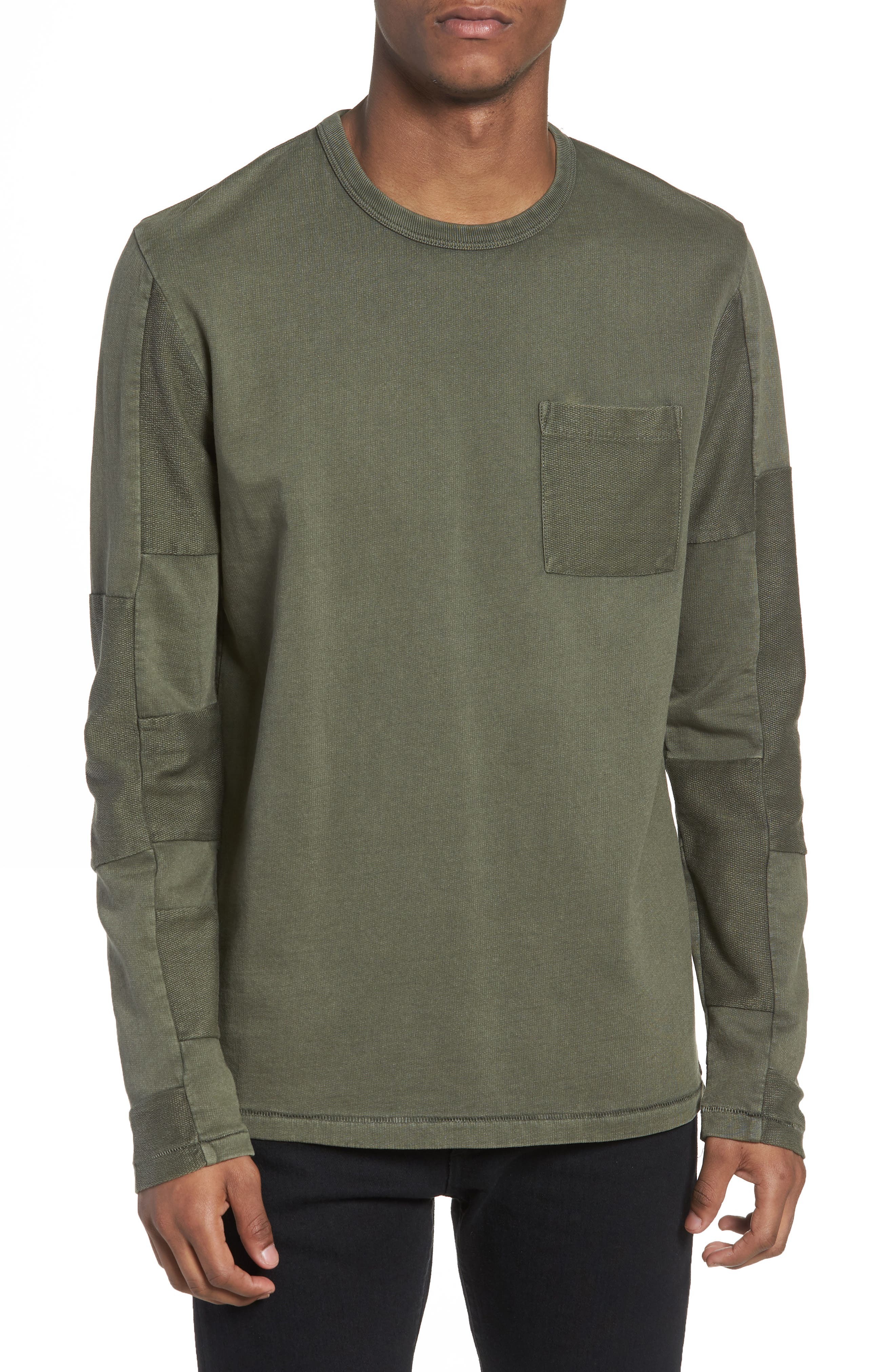 Patchwork Long Sleeve T-Shirt,                             Main thumbnail 1, color,                             COMBAT
