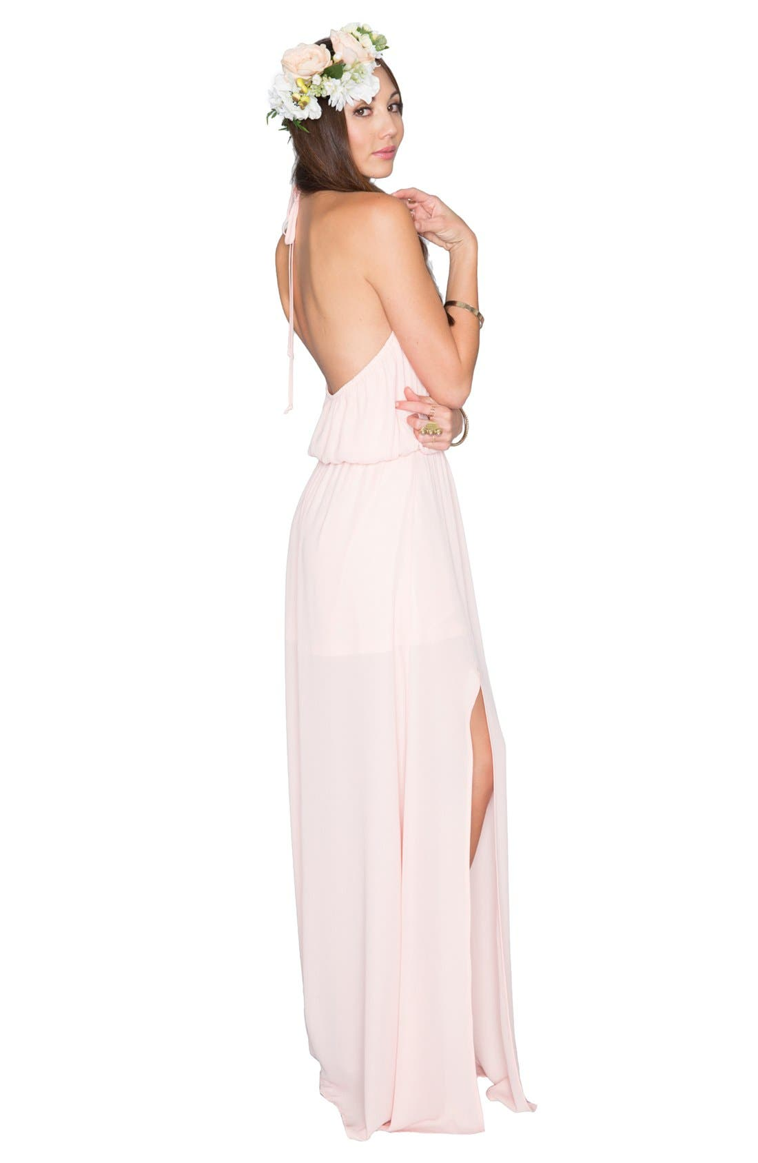 Heather Chiffon Halter Gown,                             Alternate thumbnail 34, color,