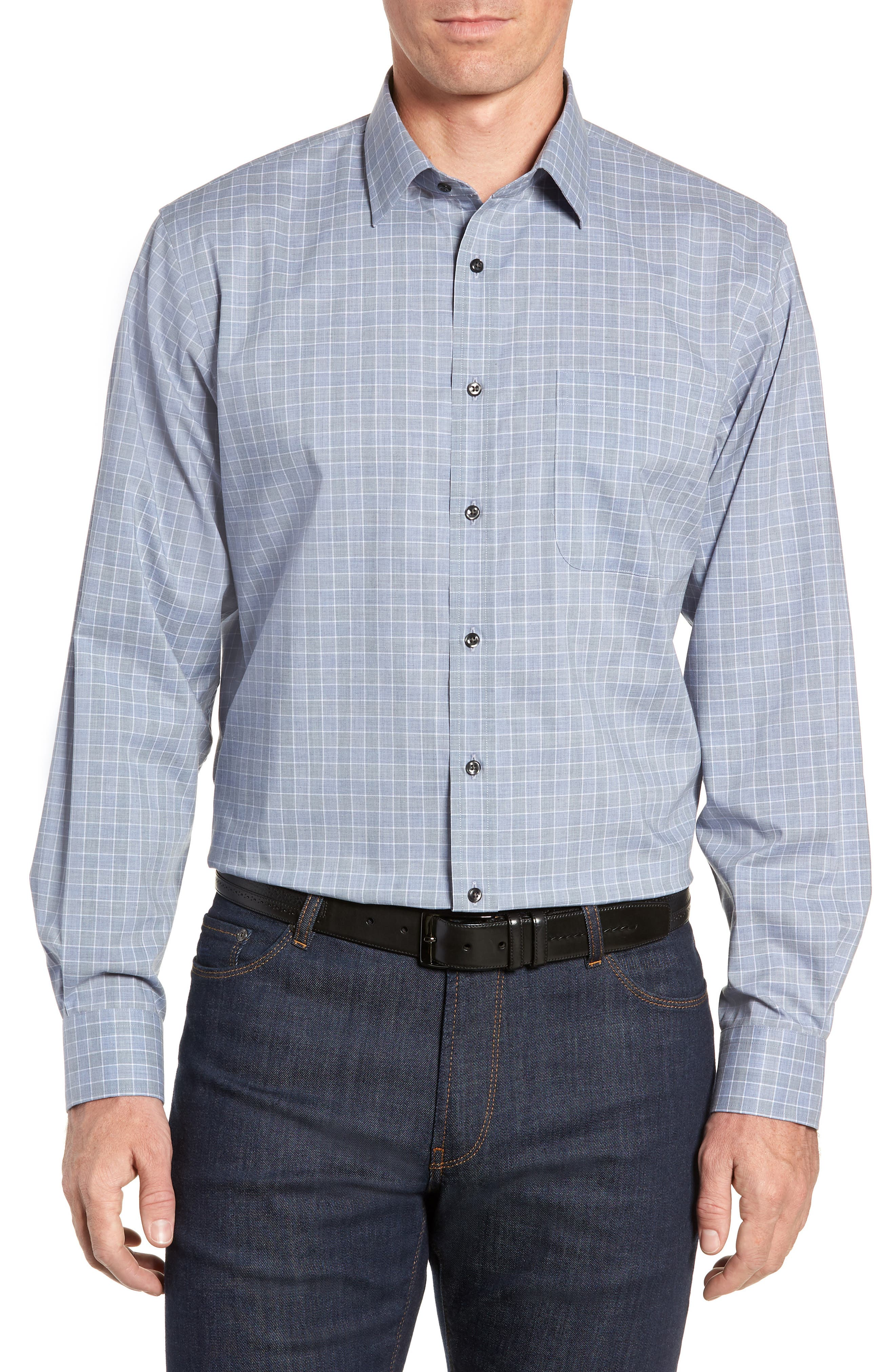 Traditional Fit No-Iron Check Dress Shirt,                         Main,                         color, BLUE INFINITY