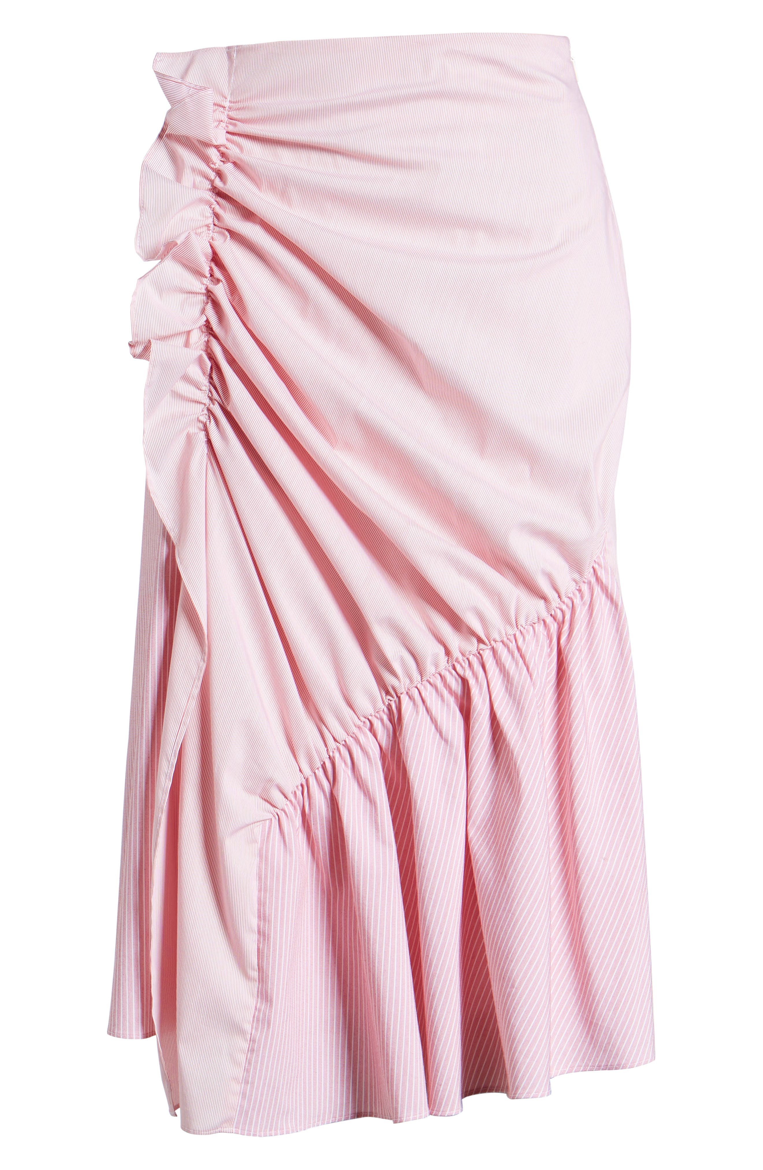 Mixed Stripe Poplin A-Line Skirt,                             Alternate thumbnail 12, color,