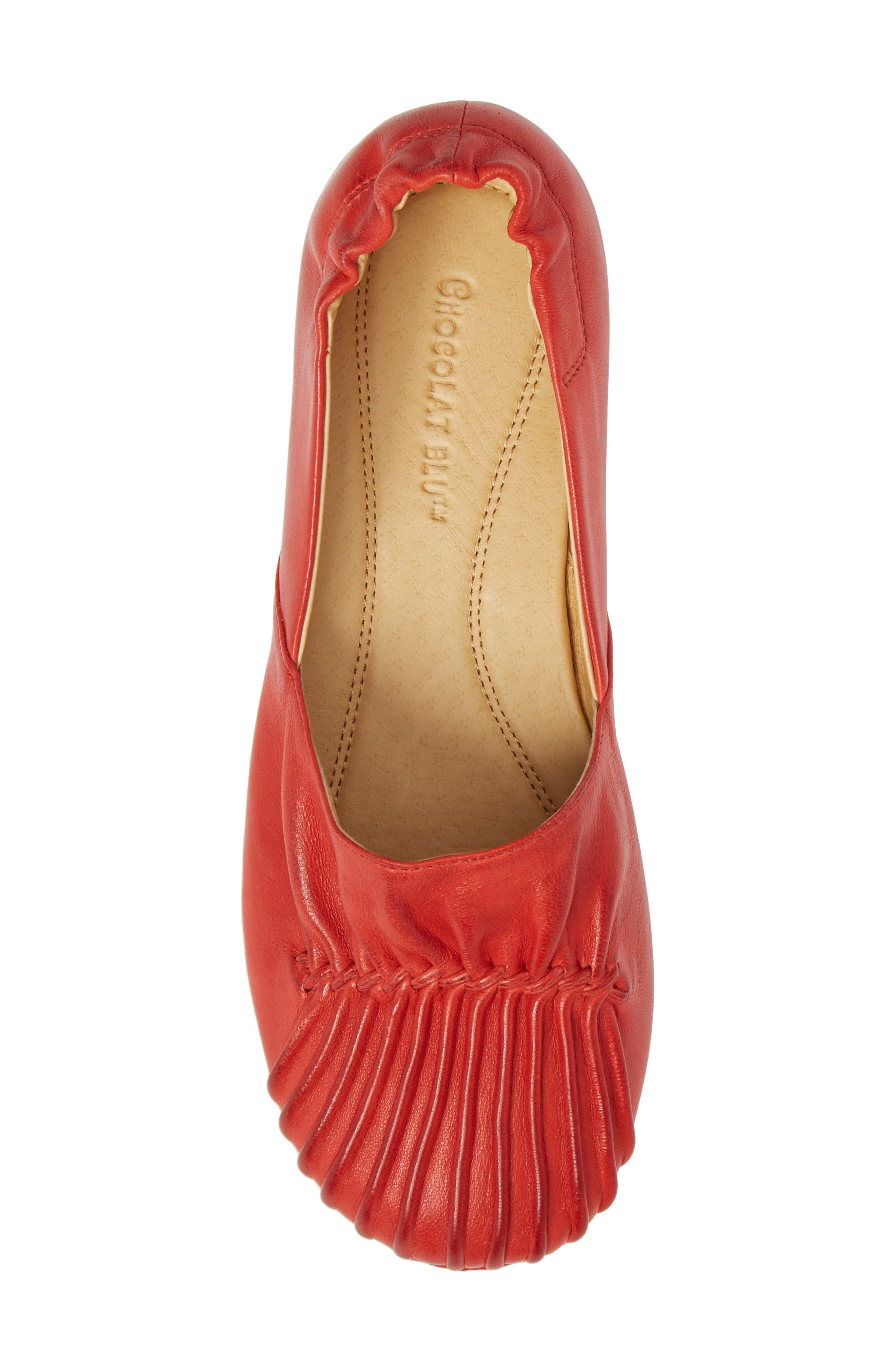 CHOCOLAT BLU,                             Cam II Pleated Flat,                             Alternate thumbnail 5, color,                             RED LEATHER