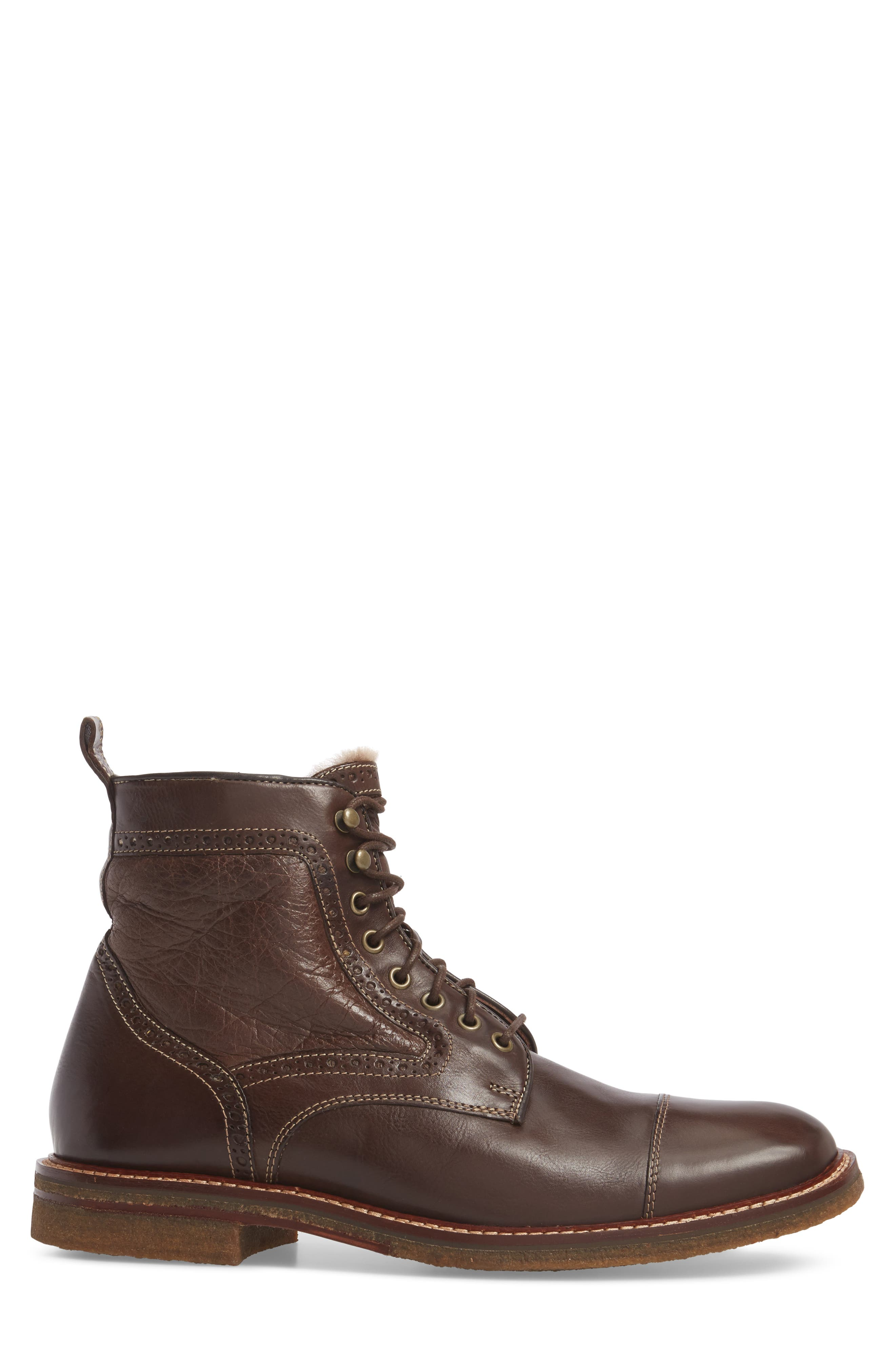Forrester Genuine Shearling Lined Cap Toe Boot,                             Alternate thumbnail 3, color,