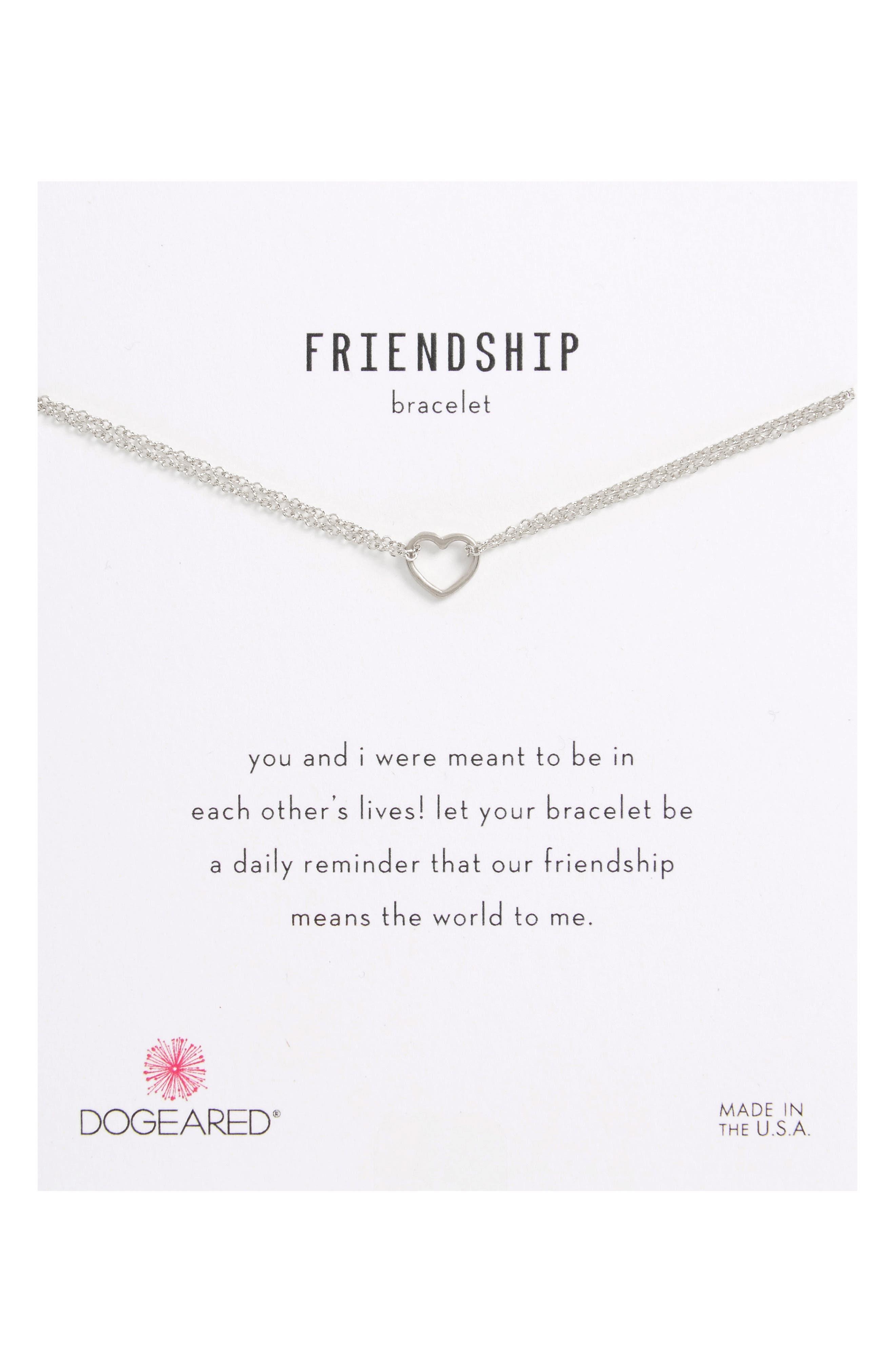 Friendship Small Open Heart Charm Chain Bracelet,                             Main thumbnail 1, color,                             040
