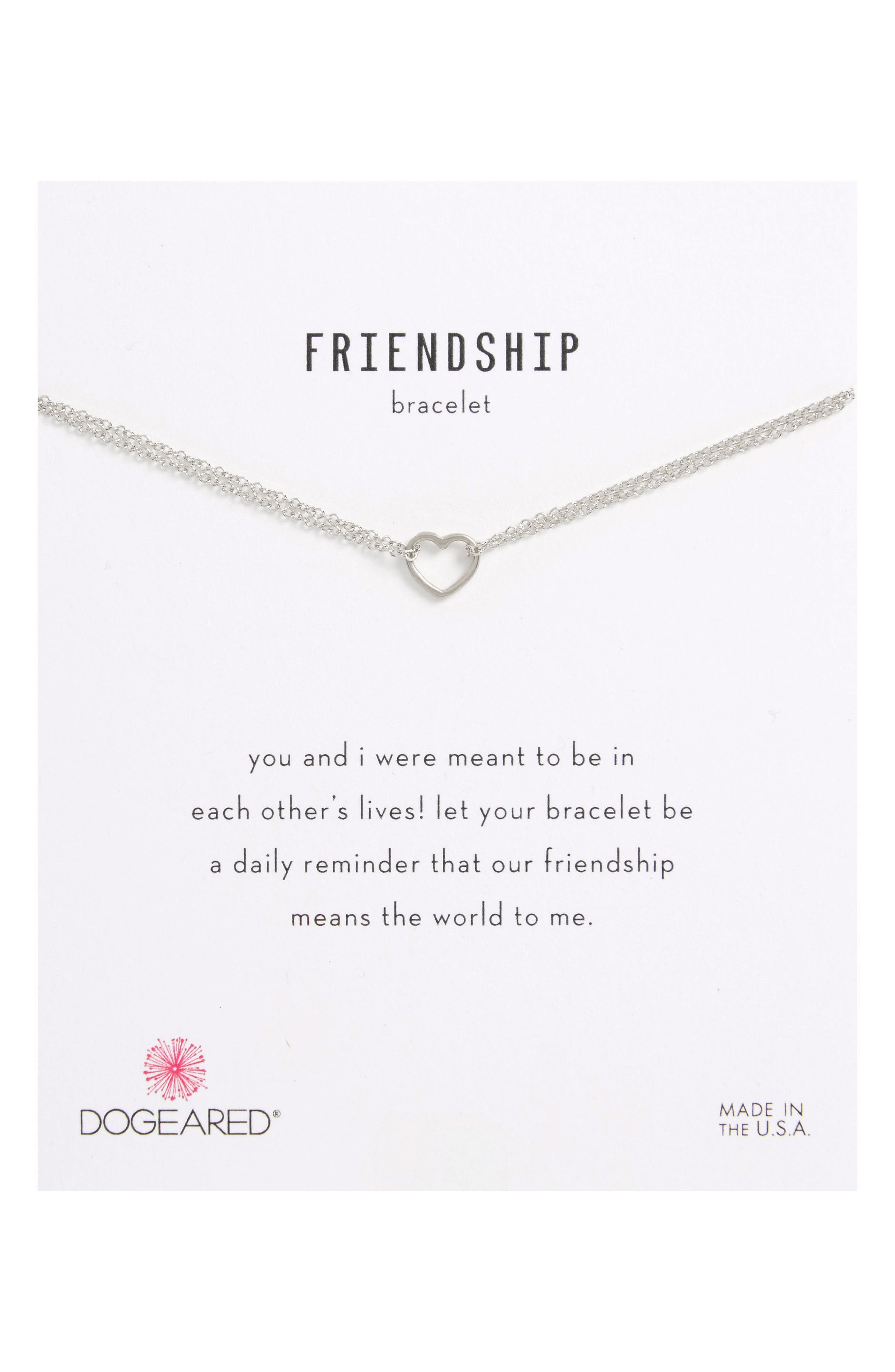 Friendship Small Open Heart Charm Chain Bracelet,                         Main,                         color, 040