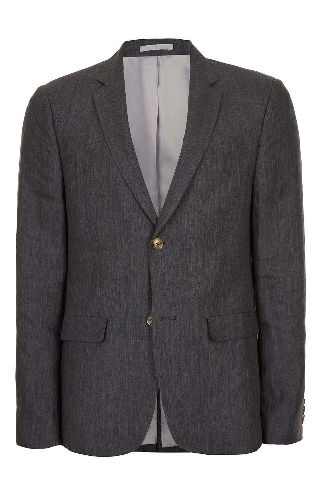 Skinny Fit Linen Suit Jacket,                             Alternate thumbnail 4, color,                             021