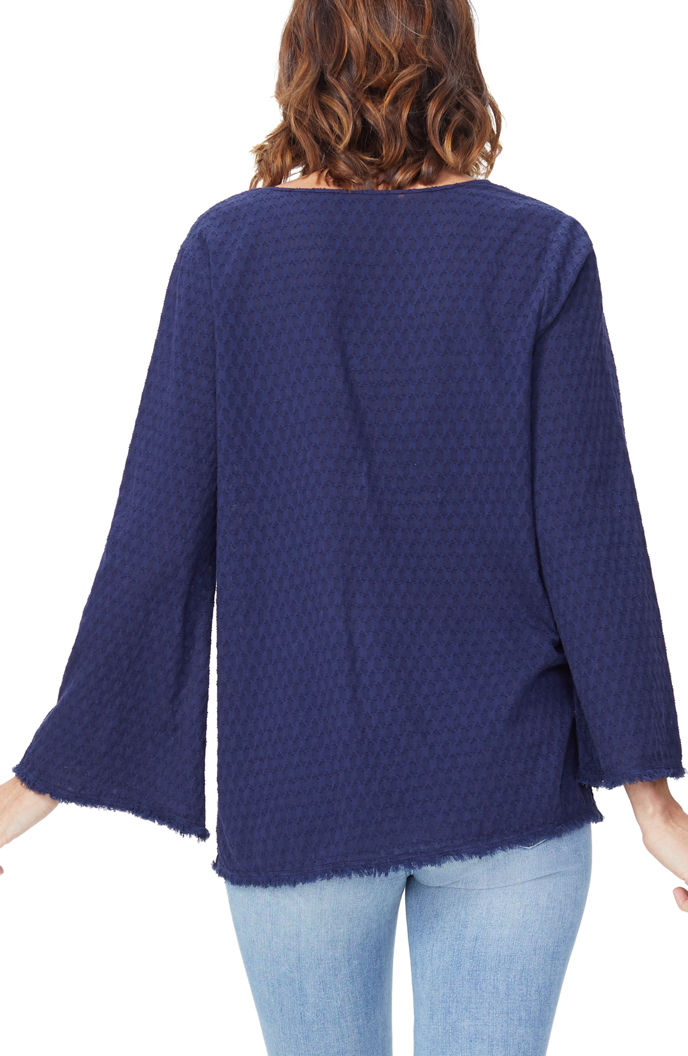 Frayed Edge Bell Sleeve Top,                             Alternate thumbnail 4, color,