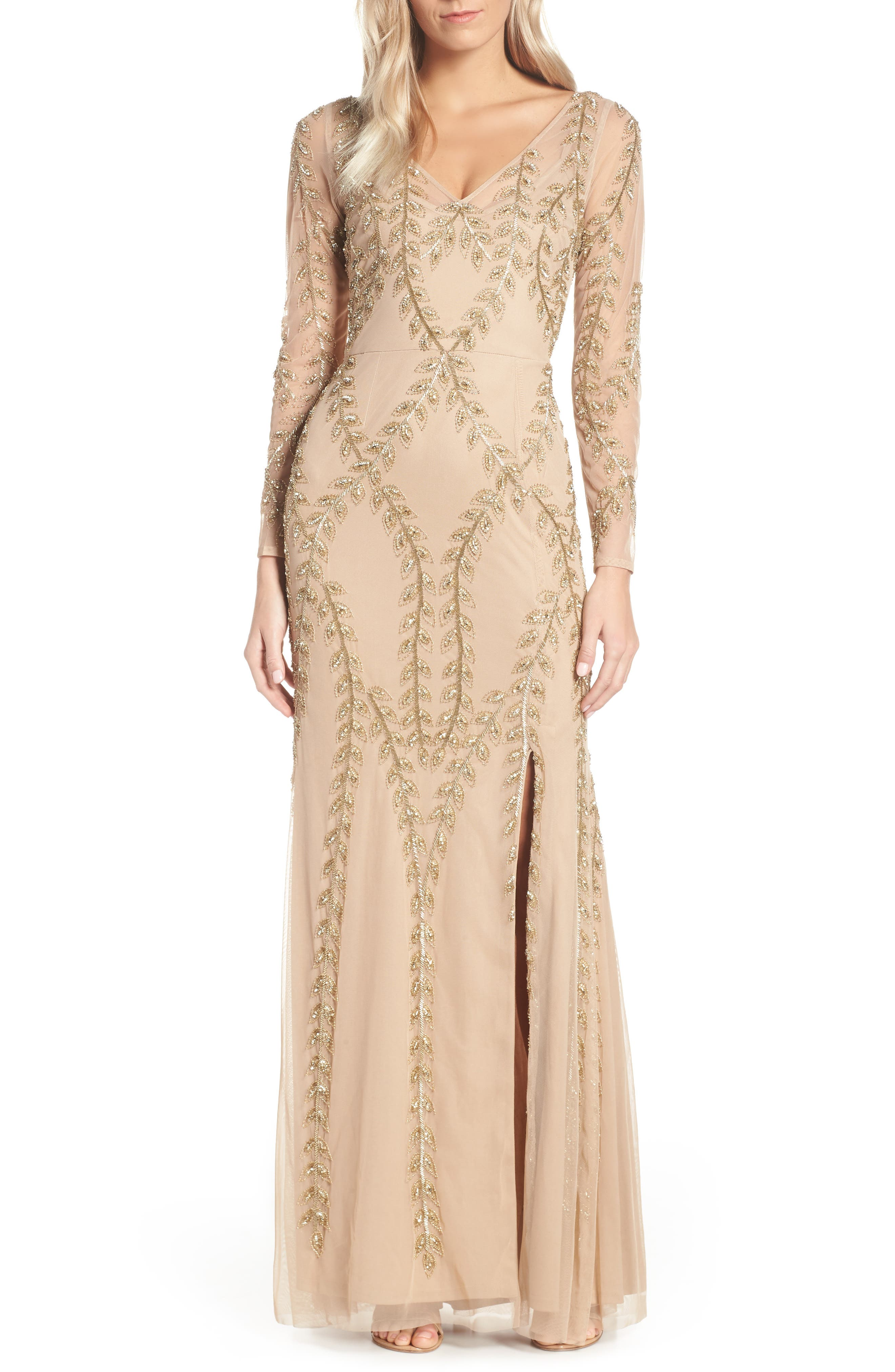ADRIANNA PAPELL Fern Beaded Gown, Main, color, CHAMPAGNE/ GOLD