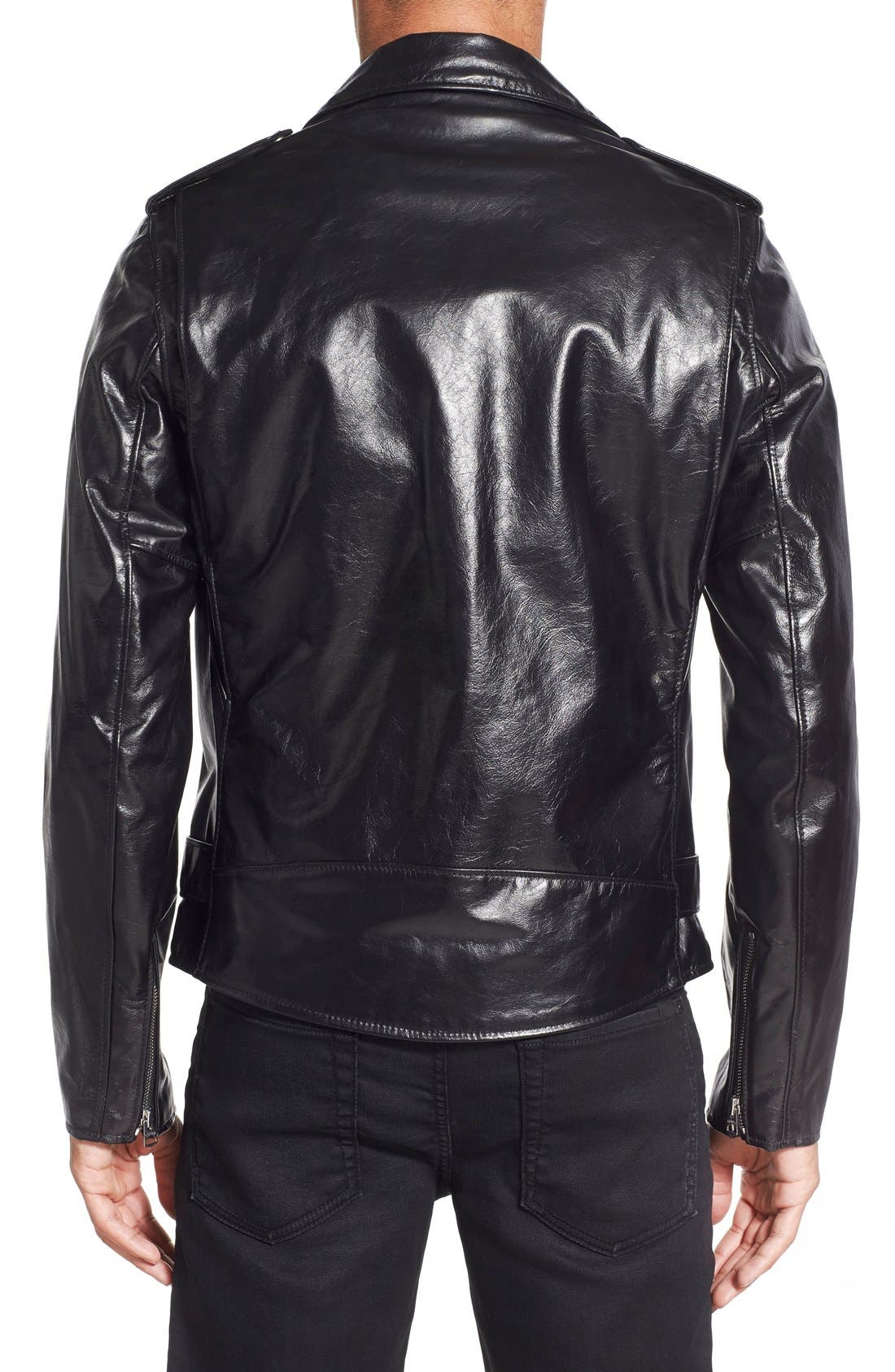 Waxy Cowhide Leather Motorcycle Jacket,                             Alternate thumbnail 9, color,                             BLACK