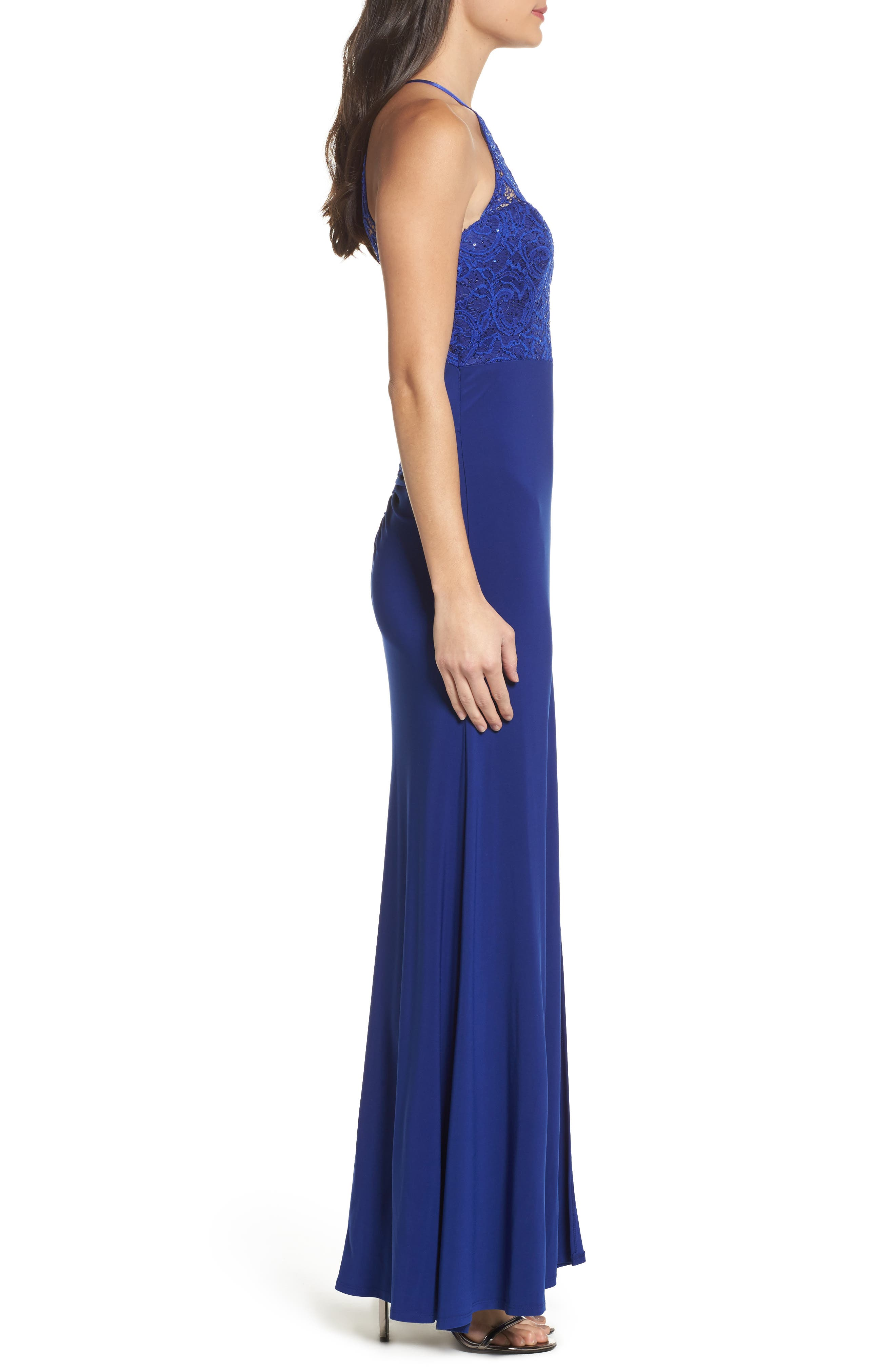 Side Slit Lace & Jersey Gown,                             Alternate thumbnail 3, color,                             405