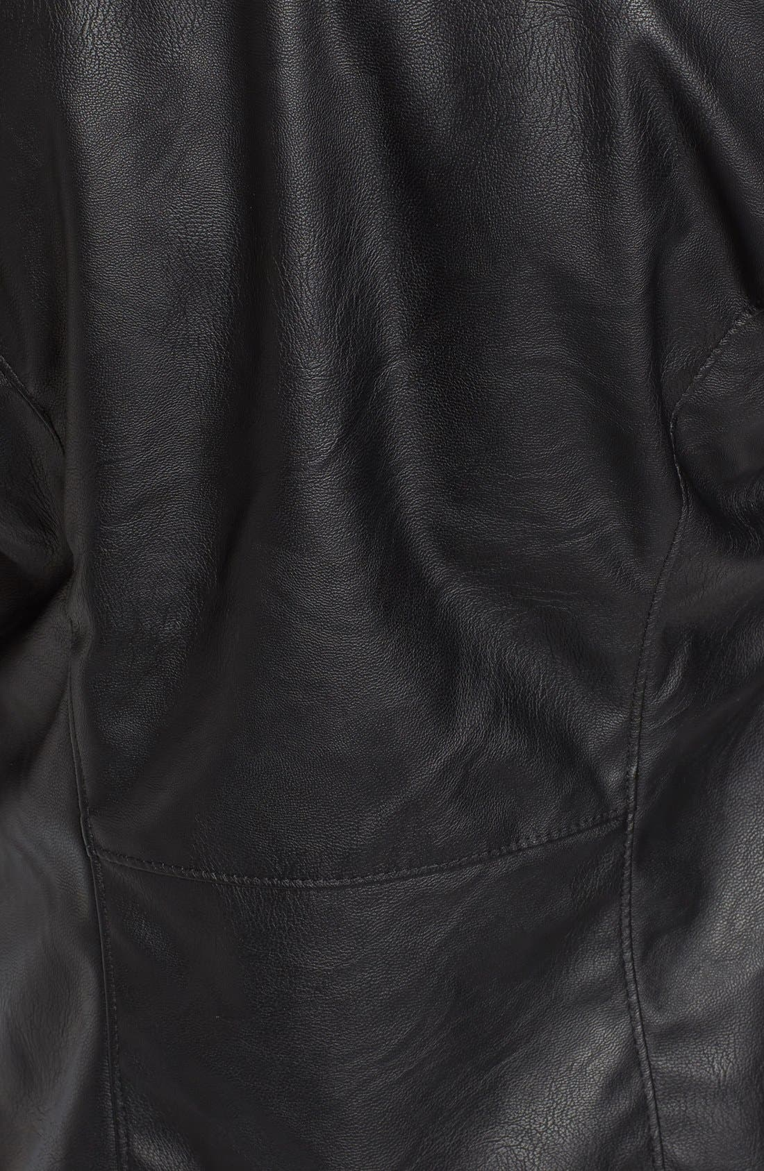 Mixed Media Faux Leather Drape Front Jacket,                             Alternate thumbnail 9, color,
