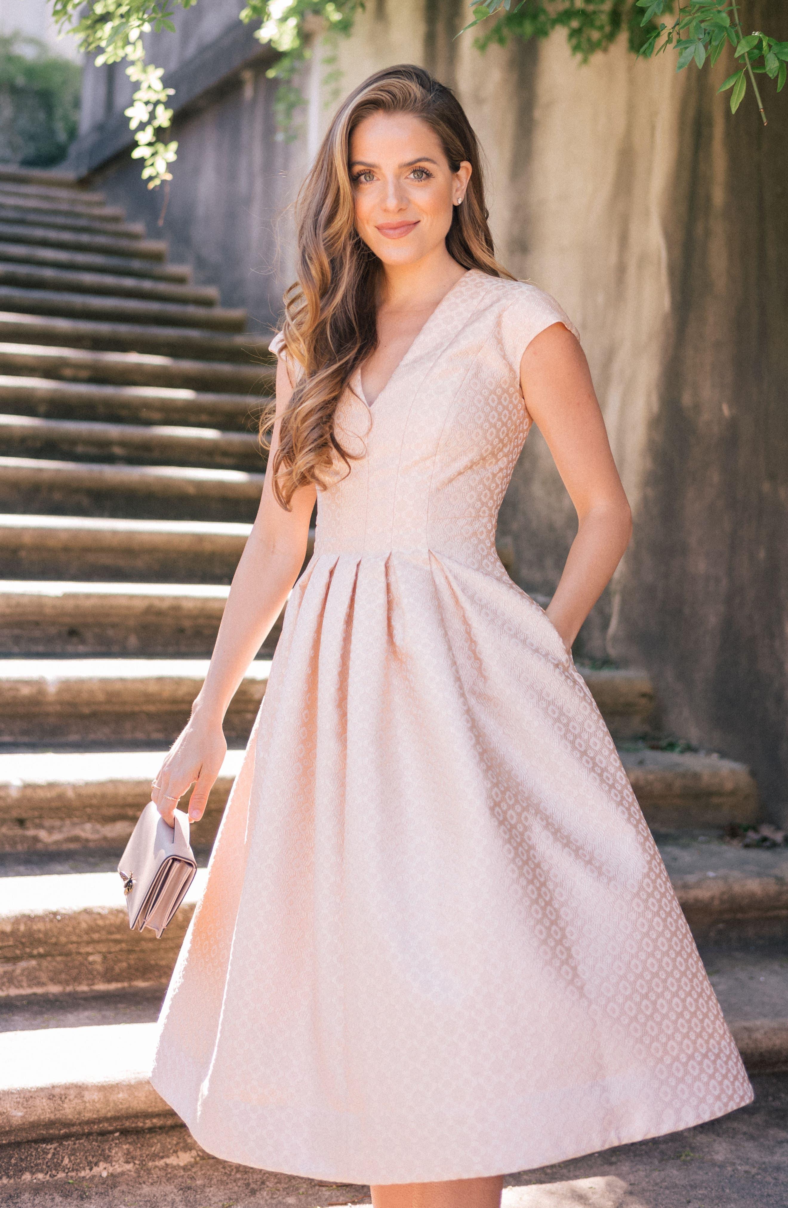 Grace Pleated Jacquard Fit & Flare Dress,                             Alternate thumbnail 8, color,                             900